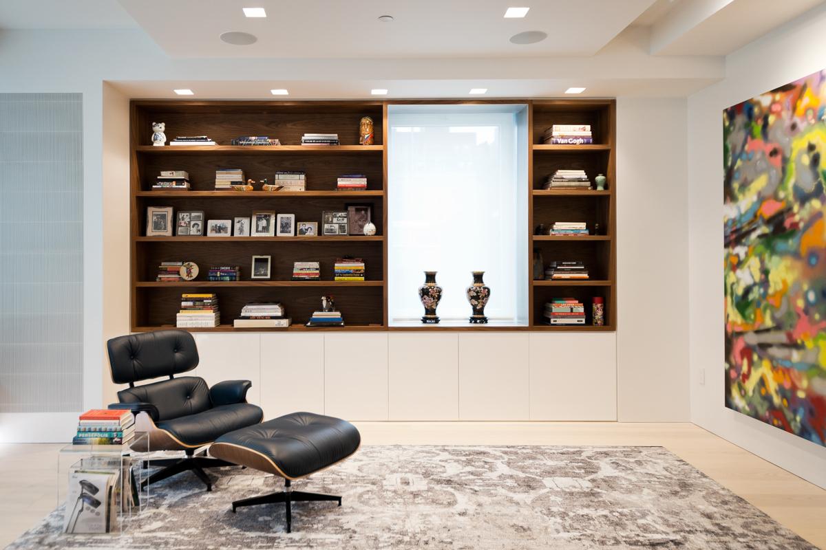 Modern New York City Lenox Hill Apartment Renovation | Custom Walnut Millwork Built In Shelves Living Room | RES4