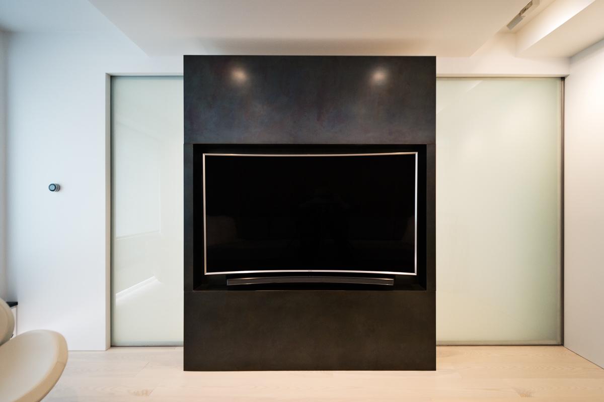 Modern New York City Lenox Hill Apartment Renovation | Black Steel TV Media Wall Pocket Doors | RES4