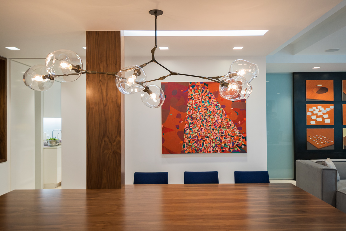Modern New York City Lenox Hill Apartment Renovation | Walnut Custom Millwork Dining Table Light Cove | RES4
