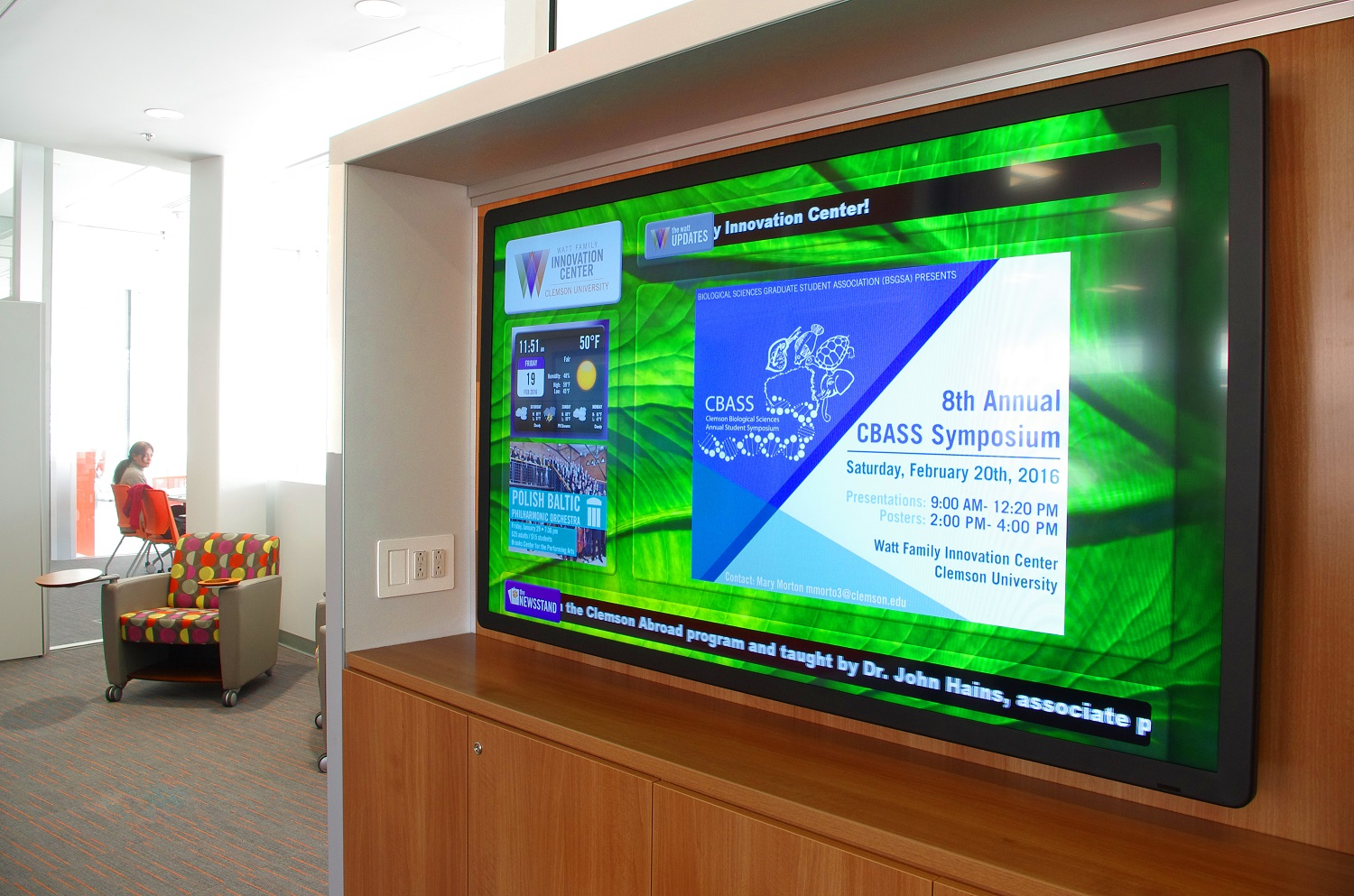Digital signage display like this display timely information that is easily updated from a central location.