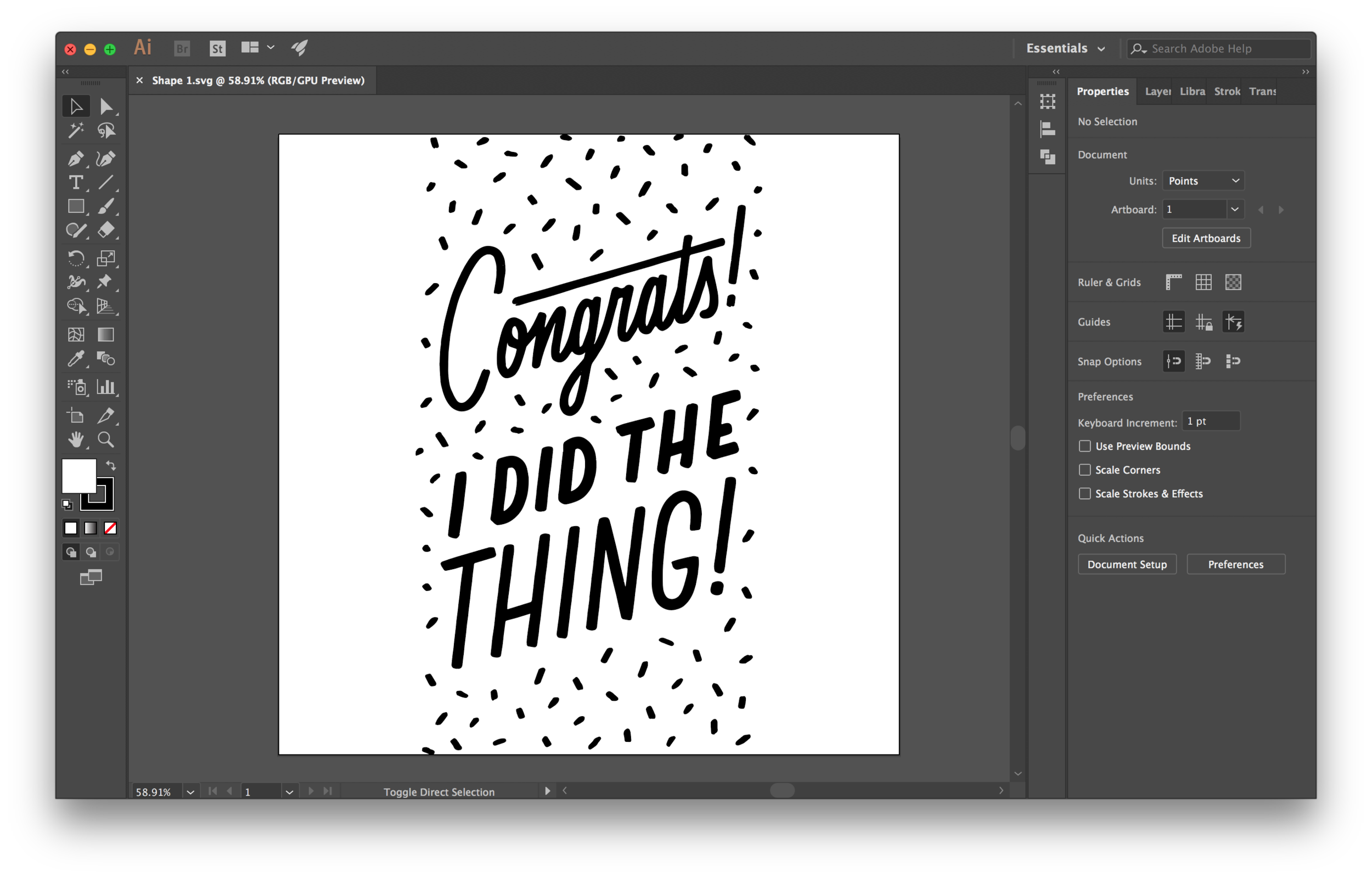 TA-DAAAAAA! I'm delighted and amazed at how seamless these programs work every time I use this function. Now your lettering is in Adobe Illustrator as an SVG file. Select all of your vectorized lettering and  press ⌘C  to copy it.