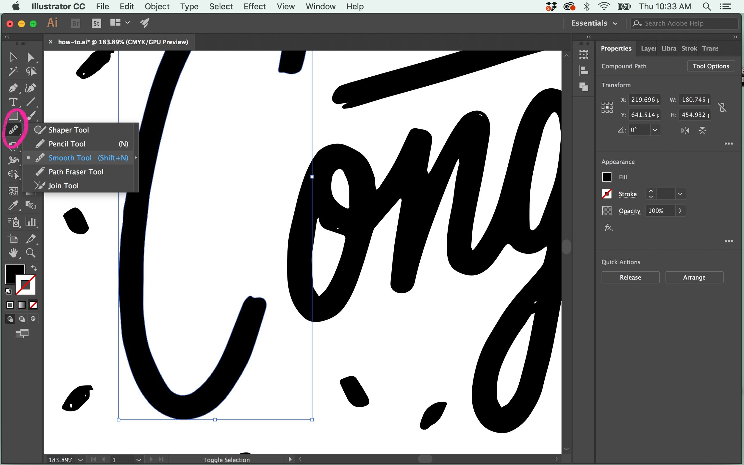 Zoom into your lettering to see if any areas need refinement. I like the roughness of most of my lines, but there are some areas (especially on certain curved areas) that could use some adjustments. Select the letter / paths you want to refine, and then  press ⌘⇧N  to bring up the  Smooth Tool , or select it from your tool bar on the left.