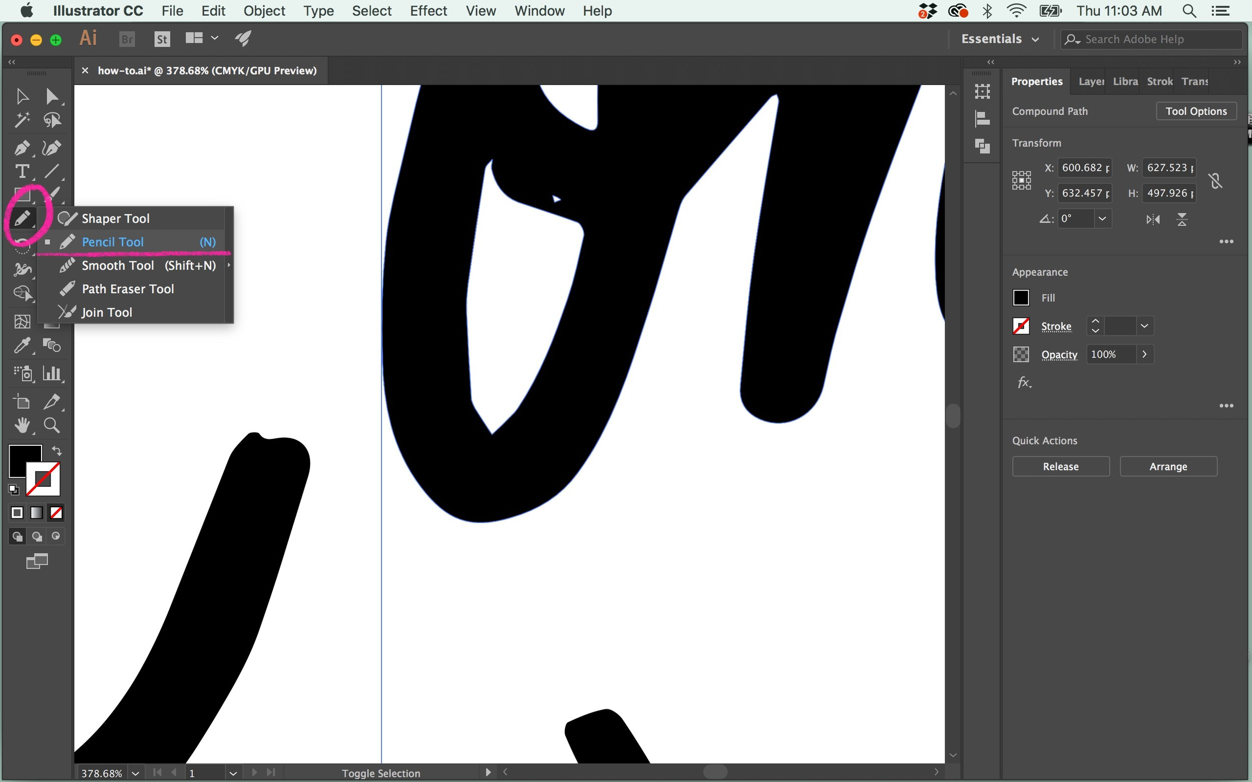 The Pencil Tool is similar to the Smooth Tool, but it draws and smooths at the same time. Select the jagged and tight area of your lettering that you want to fix (like the inside of my O here), and  press ⌘N  to bring up the  Pencil Tool .