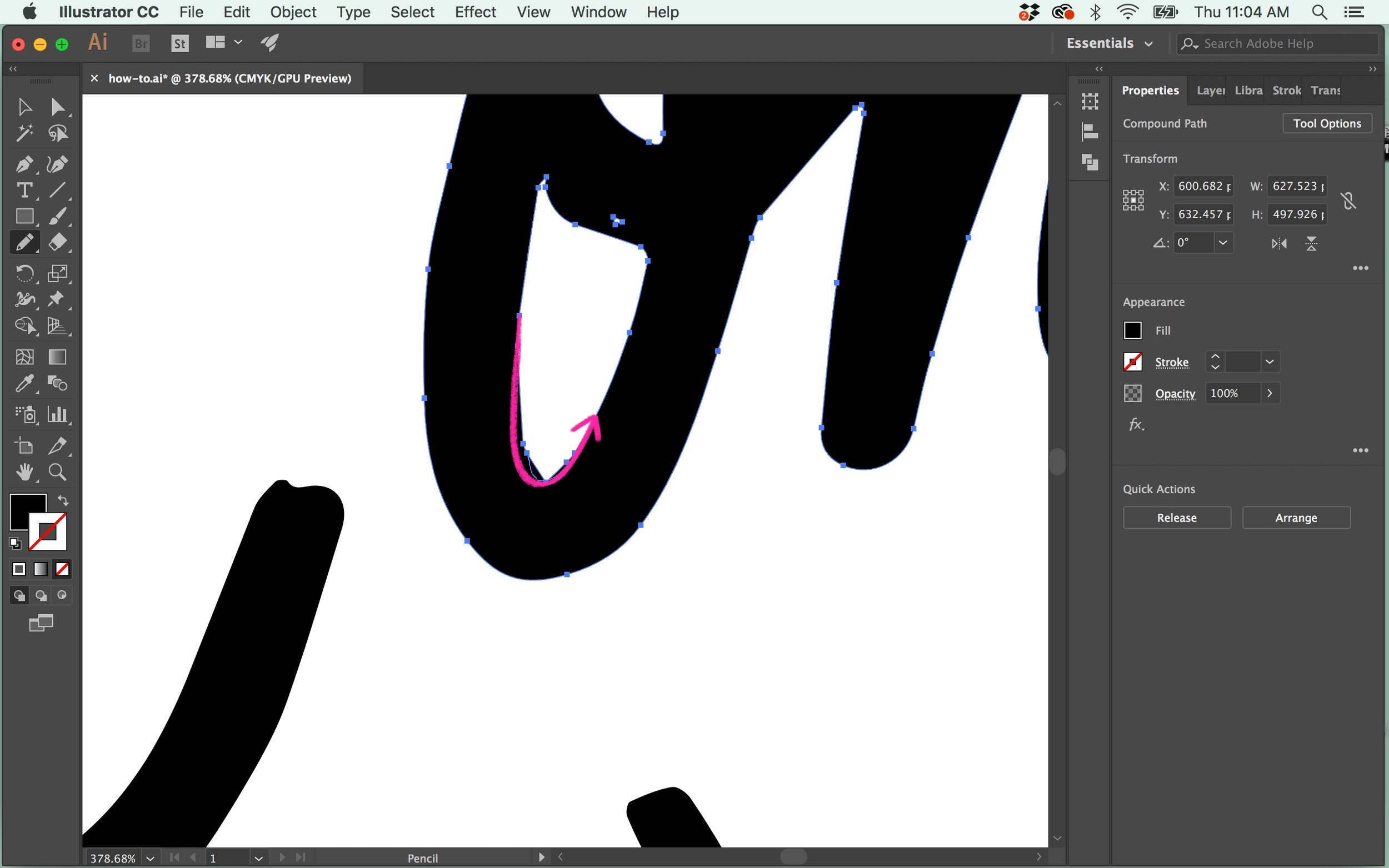 Click and drag the Pencil tool over the jagged area and try to draw in the curve you'd like instead. This might take a few tries, but once you get it close enough, you can switch back to your Smooth tool ( ⌘⇧N ) and smooth out the final parts.