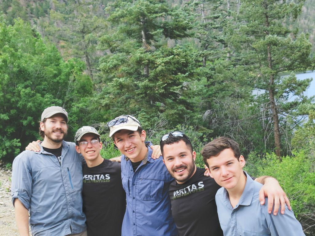 The men after completing their first hike on the tip at Cabresto Lake.