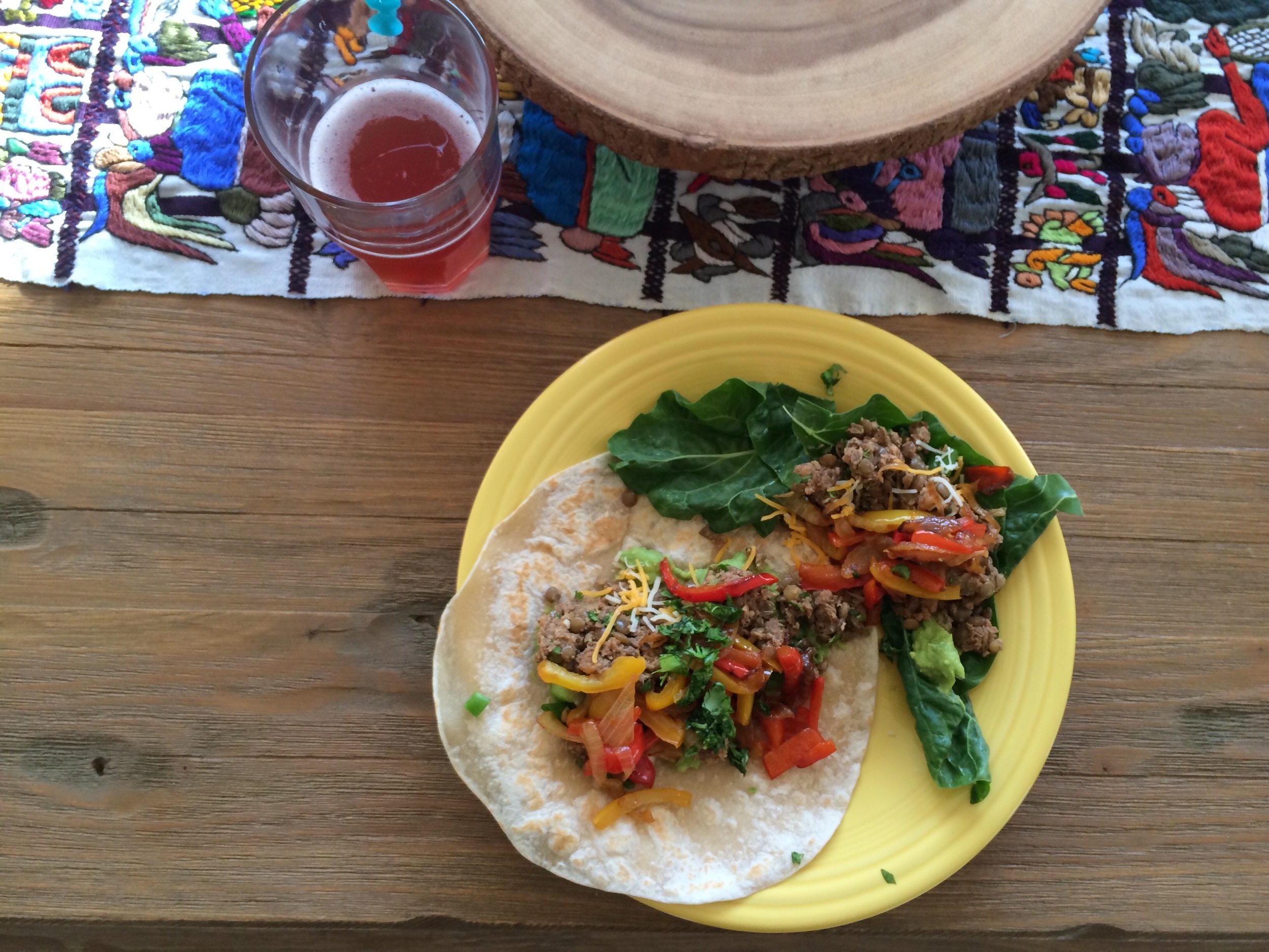 Ultimate walnut lentil 'meat' tacos from Oh, She Glows recipes. Also, homemade pomegranate kombucha made by our Seekers Ian and Martyn, yum.