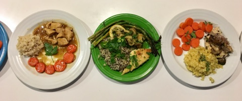 "From left to right, Ian's ""Chicken Stir-Fry"", Martyn's ""Chicken and Mushrooms"", and Nathan's ""Garden and Grains Chicken""."