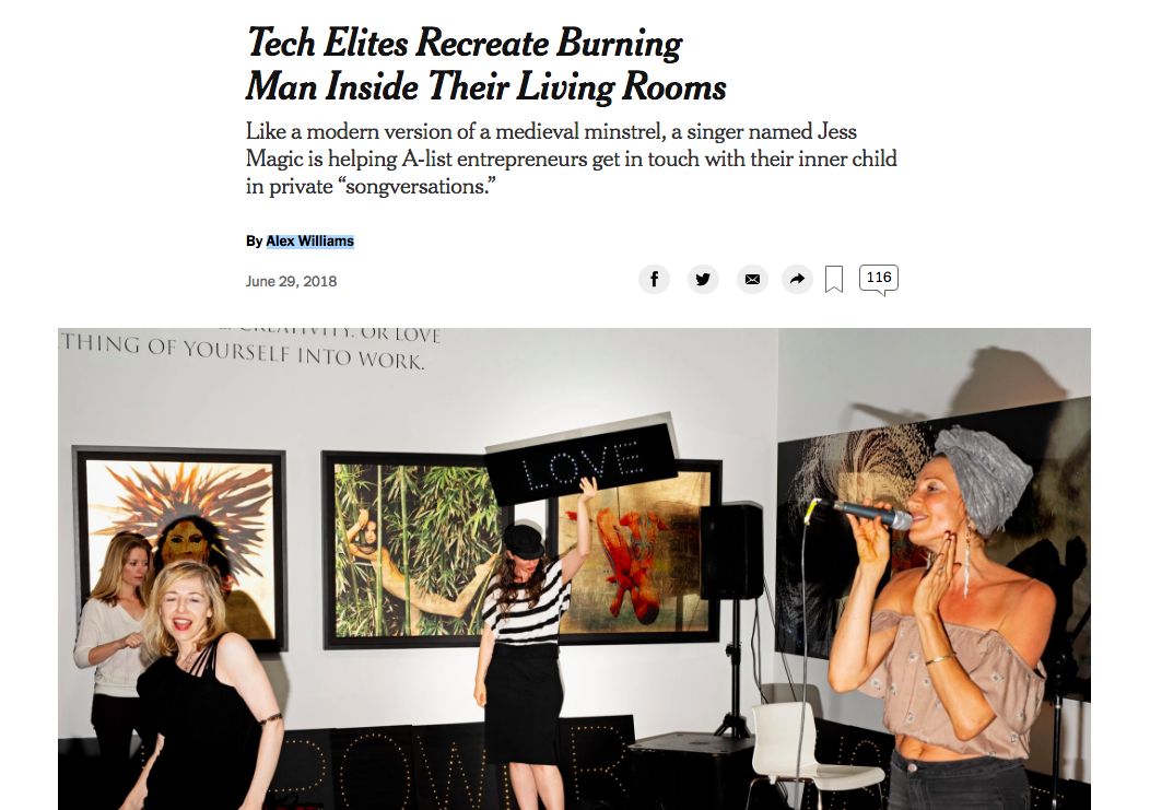 On June 29, 2018 this article came out in print and online in  The New York Times  by an incredible journalist named Alex Williams. Please check it out and feel free to share!