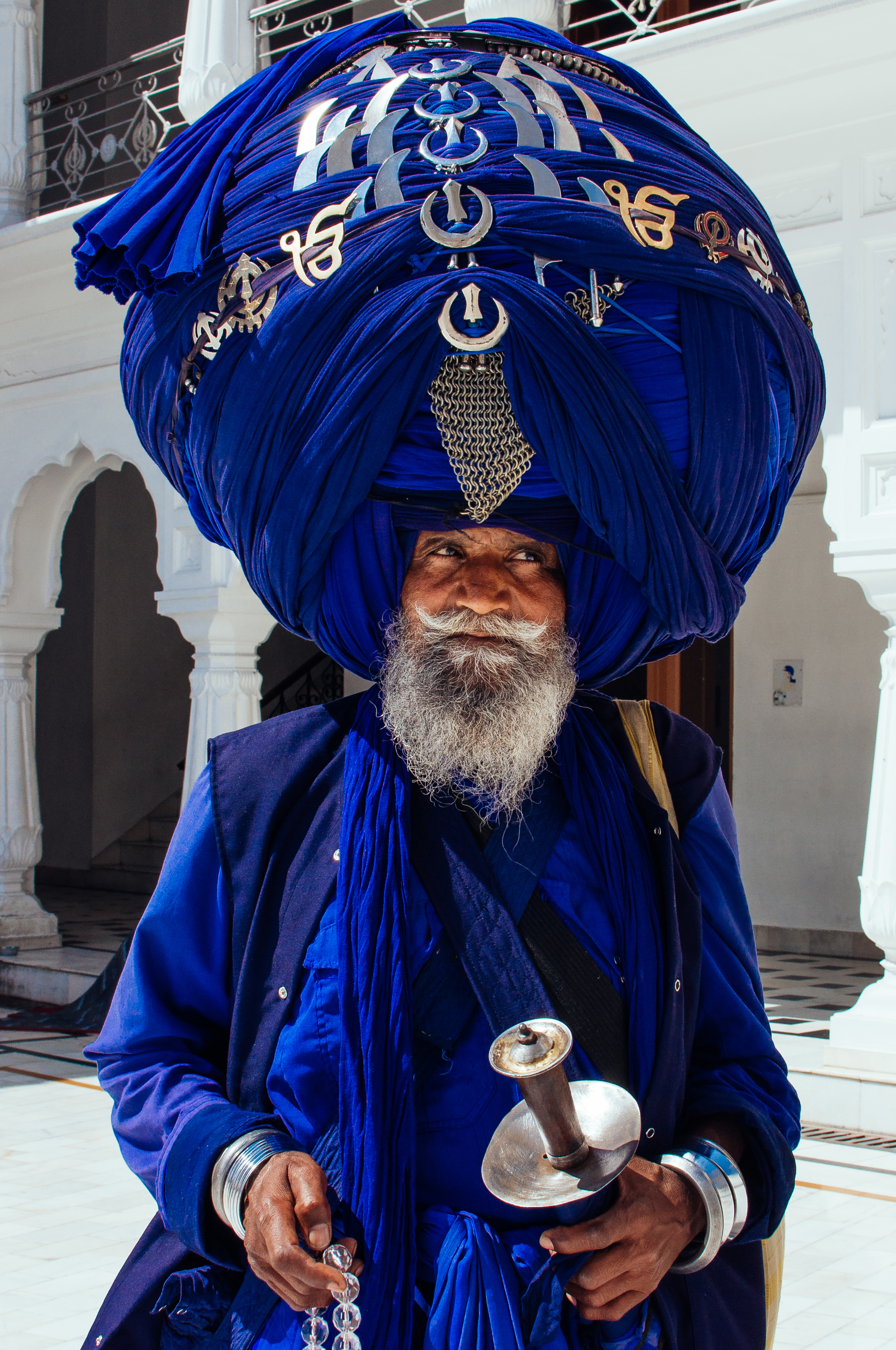 Variam and his beautifully decorated turban at the Golden Temple in Amritsar