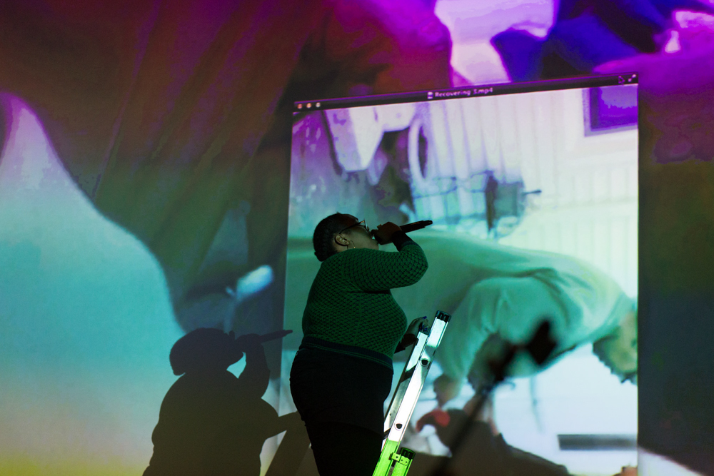 Lineage For A Multiple Workstation , one of two performances artist Sondra Perry's presented as part of Episode 8.   Images courtesy of Alex Woodward for Arika at Episode 8: Refuse Powers' Grasp at Tramway, Glasgow 2016