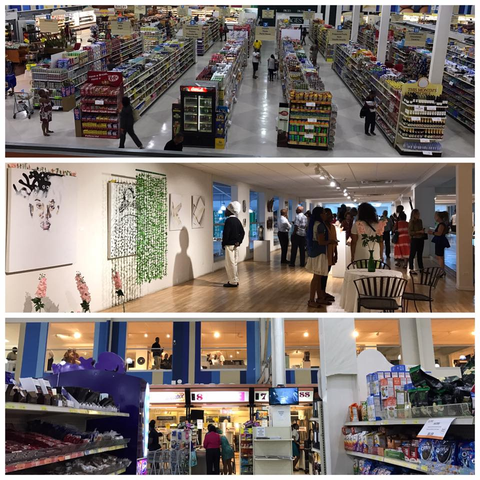 Images from Oneka Small's April 2017 pop-up exhibition at the Massy Superstore supermarket in Warrens, Barbados.  Image courtesy of Sheena Rose.