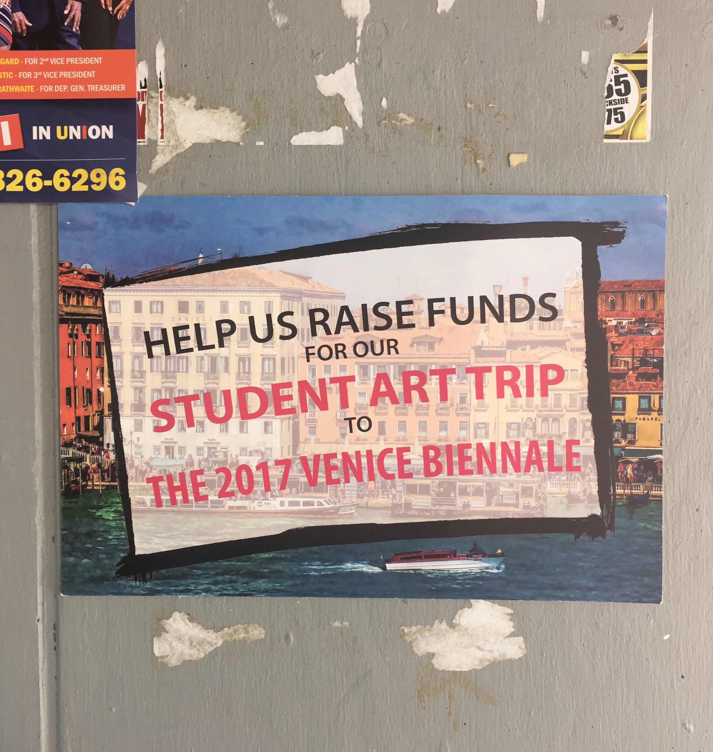 One of Punch Creative Arena's primary activities is fundraising for final year BCC students to take a trip to a major art event overseas. The 2017 trip was to the Venice Biennale.
