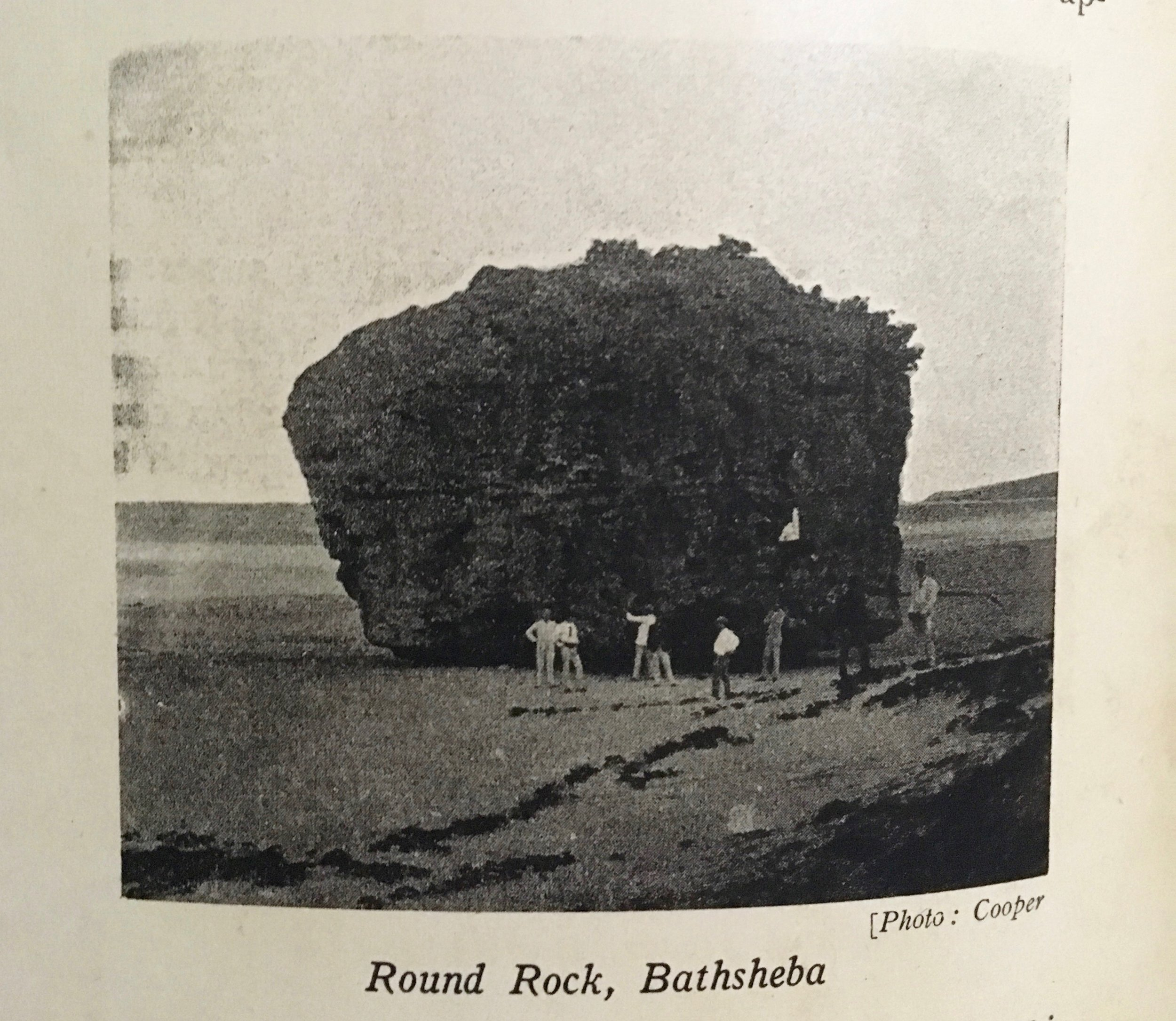 An image of Bathsheba rock in a historical book from Dr. Jefferson Clarke's collection.