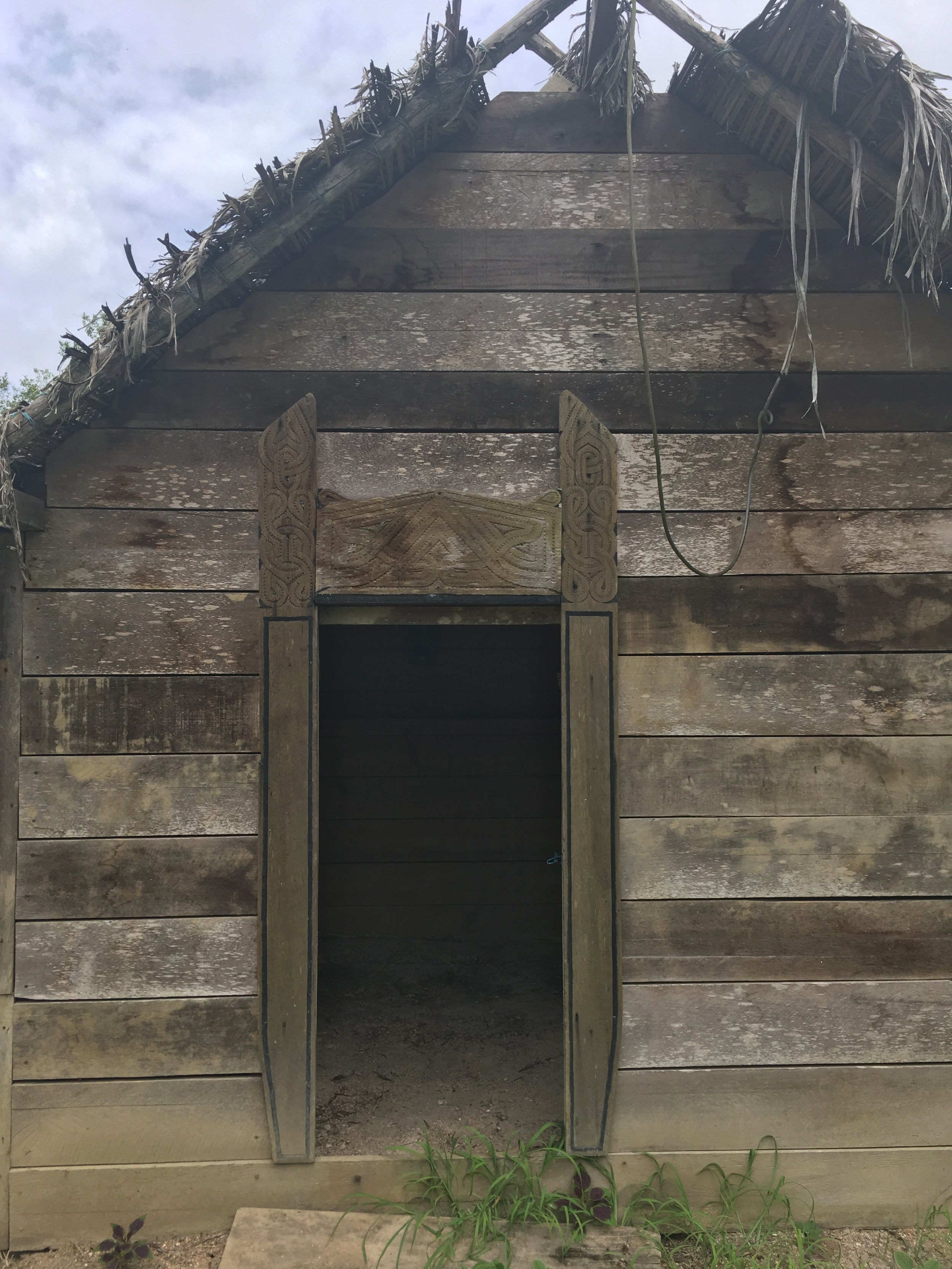 A traditional Saamaka (also known as Saramaka or Saramakaner) Maroon house at the New Amsterdam Open Air Museum.