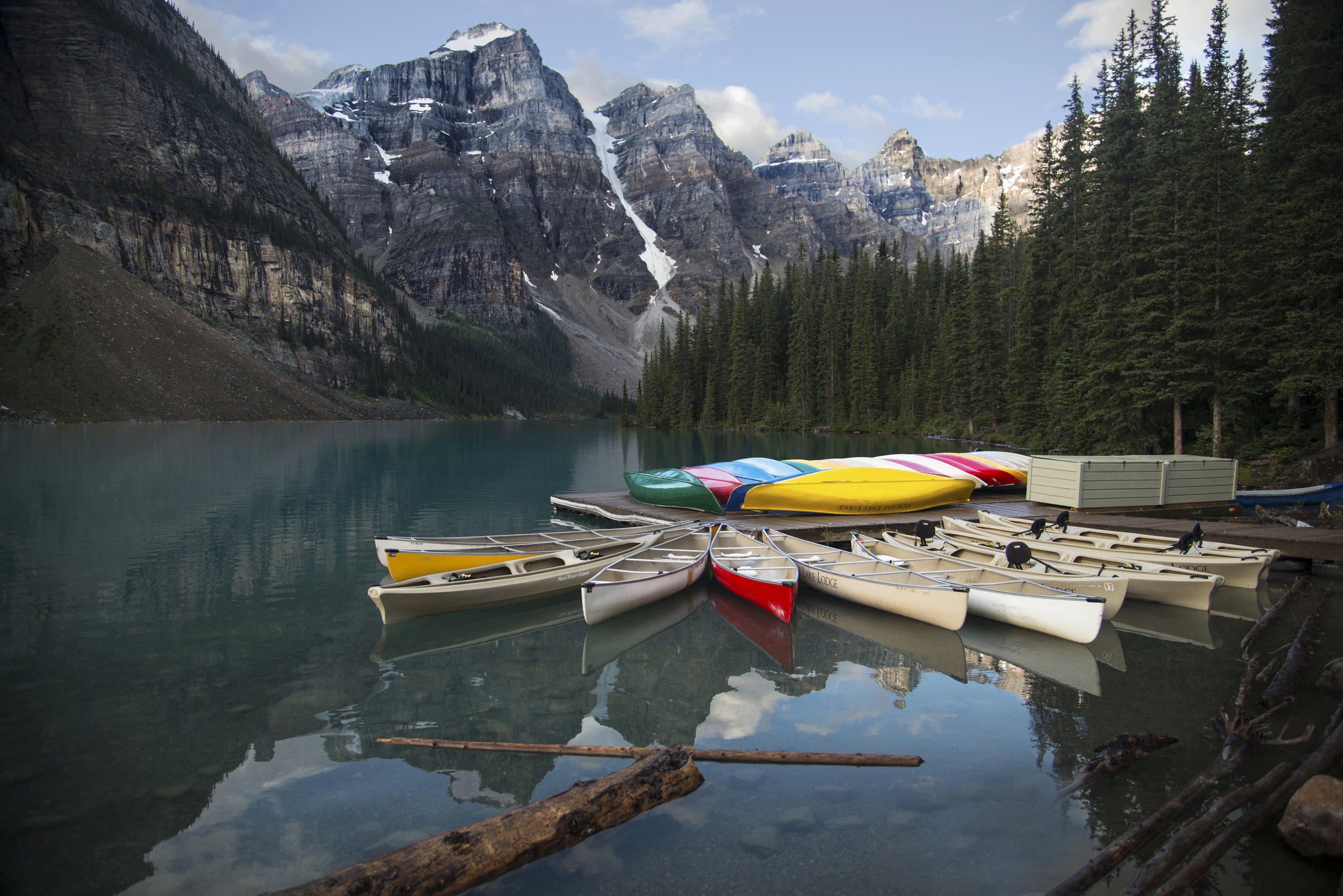 Canoes on Moraine Lake in Alberta.jpg