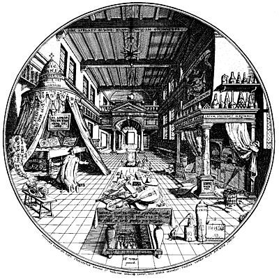 """This is a classic picture of an alchemical laboratory. It is unusually large and neat. I use it to illustrate important elements that go into making a laboratory. You will notice that there are three main sections: on the left is the adept praying his oratory beneath a tent surrounded by many texts and recipes; on the right is the physical laboratory in front of which is the athanor where the work will be done. Notice above the fireplace are many bottles containing all sorts of elixirs. In the foreground center is a table upon which are a number of musical instruments, and in the far rear of the image is a door - the door of infinity that reminds us of the fake doors we find in ancient Egyptian temples and tombs. I devote a good deal of time in my book Alchemical Psychology explaining many of these elements and some of the recipes hidden everywhere. For example, in the rafters is one that reads, """"keep vigilant even while sleeping.""""  It is important to emphasize that the first two parts on the left and right suggest that alchemical work involves psyche and soma. At the center are the instruments that harmonize these two aspects of the work.  the Prima Materia:  Where does one start the work? While alchemists throughout the ages have made many suggestions I think the place to begin is with oneself. In alchemy, the outer reflects the inner (as above, so below or as within so without). You must begin by making a very important decision: are you ready to devote your life to changing lead into gold, not physically of course, but psychologically and spiritually. In psychological terms this means dedicating yourself to transforming the unconscious into consciousness. The unconscious is a world unto itself, but we can recognize it most clearly at night in our dreams and in the day in our habits. In alchemical work, we devote ourselves to forming a relationship with the unconscious, first in ourselves, then in others. This work is an act of purification because as we take not"""