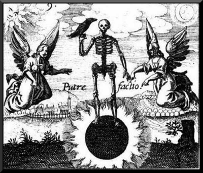 """Darkness pervades this first stage of the work. This image shows a skeleton holding a raven standing upon what is known as the black sun. When we plunge ourselves into the unconscious everything goes dark. It is a dangerous time when one can become disoriented and depressed. It is therefore important to have a partner - a friend, a mentor, a therapist - to help you get through this challenging stage. You will also notice the word putrefaction to the left and right of the skeleton. This another operation where things are left to rot. Just as we purified the prima materia and end up looking like a skeleton, this stage involves shedding things that no longer serve us. Caution: don't be too quick to condemn your ego, for as von Franz said in the quote I offered earlier, it is only the inflated ego that needs to """"rot in hell."""" In hell, such negative things are exposed to the fire that then reduces them them to their core essence, what in alchemy is called ash. This fire operation is calcinatio. Alchemy is known as the operations of the sun, and in the image we see both sun and moon separate in the left and right corners, and in the middle where they come together the sun is completely blotted out like a solar eclipse. Psychologically, this means that the light of consciousness is hidden from us. Just as the angel points downward, so too must be go deep within ourselves and into the unconscious to find the hidden stone, the lapis philosophorum.   the Albedo:"""