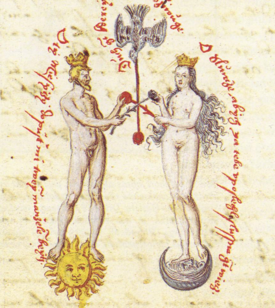 In the final stage of the work we see the integration of the finest essence of man, King Sol, and his equally regal Queen Luna. Notice also that there is a third element - a dove that draws down the spiritual energy. In other words, the rubedo is about establishing a sacred relationship with the Divine. Two cautions: we may get glimpses of this state, but it can take a lifetime or more to stabilize it so that we can access it at will, or if you happen to be a saint live in this divine presence all the time. The second caution is something called a false coniunctio. This word means union and it is the essence of the work. While we have seen separation and now union, we must be sure that this is a true union and not simply wish fulfillment. The alchemists often warn, All haste is of the devil! In other words, you cannot push the work, but rather it must develop naturally and gradually. Those whose sole purpose was to make gold out of lead as quickly as they could were called puffers. A false coniunctio is consequence of greed, inflation and excessive desire. The true Royal Marriage is one of many images of the Philosopher's Stone, which of course is a divine state of being and cannot really be rendered in pictorial form. Still artists over the millennia have given us incredible images that reflect transcendental consciousness.