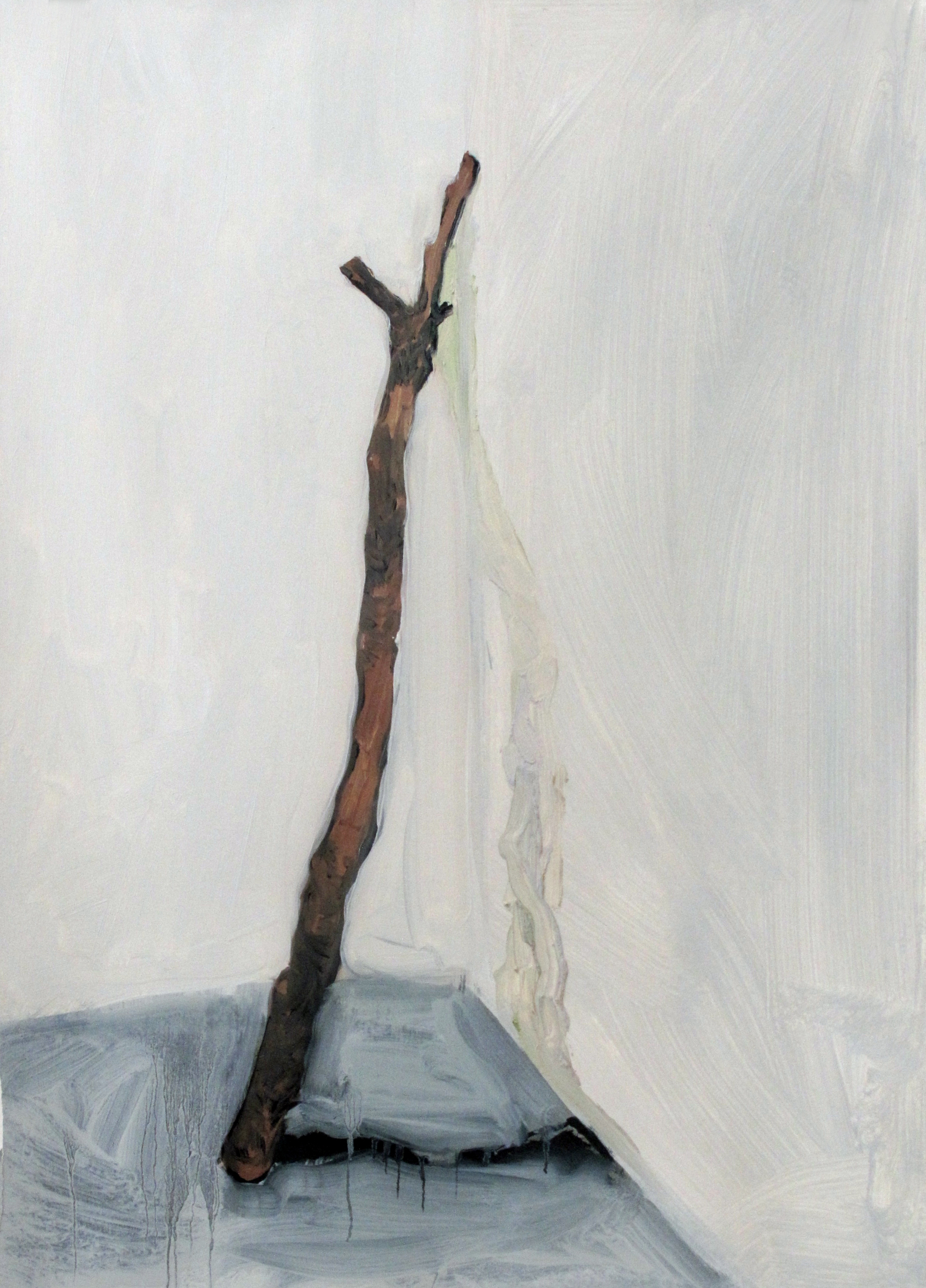 """SOLD   """"stick,"""" oil and charcoal on paper, 1.5' x 2', 2016"""
