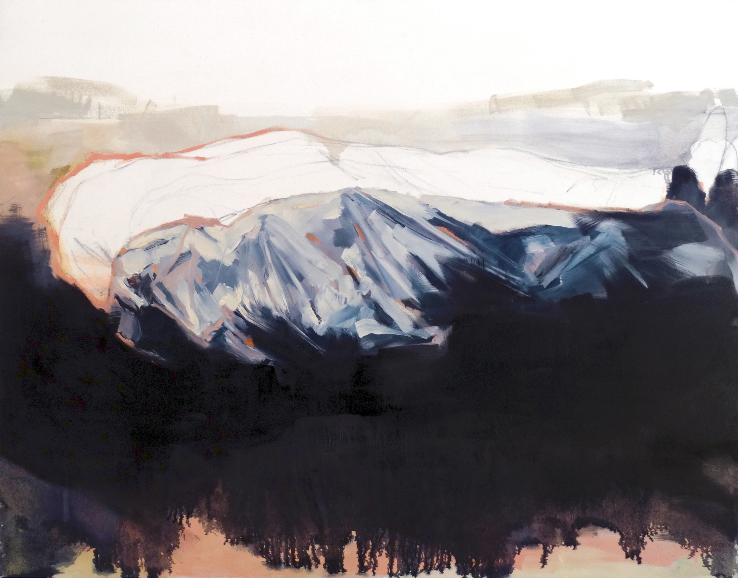 """$600   """"Sunrise on Fanore Beach""""  oil and charcoal on stretched canvas  5 ft x 4 ft  2014"""