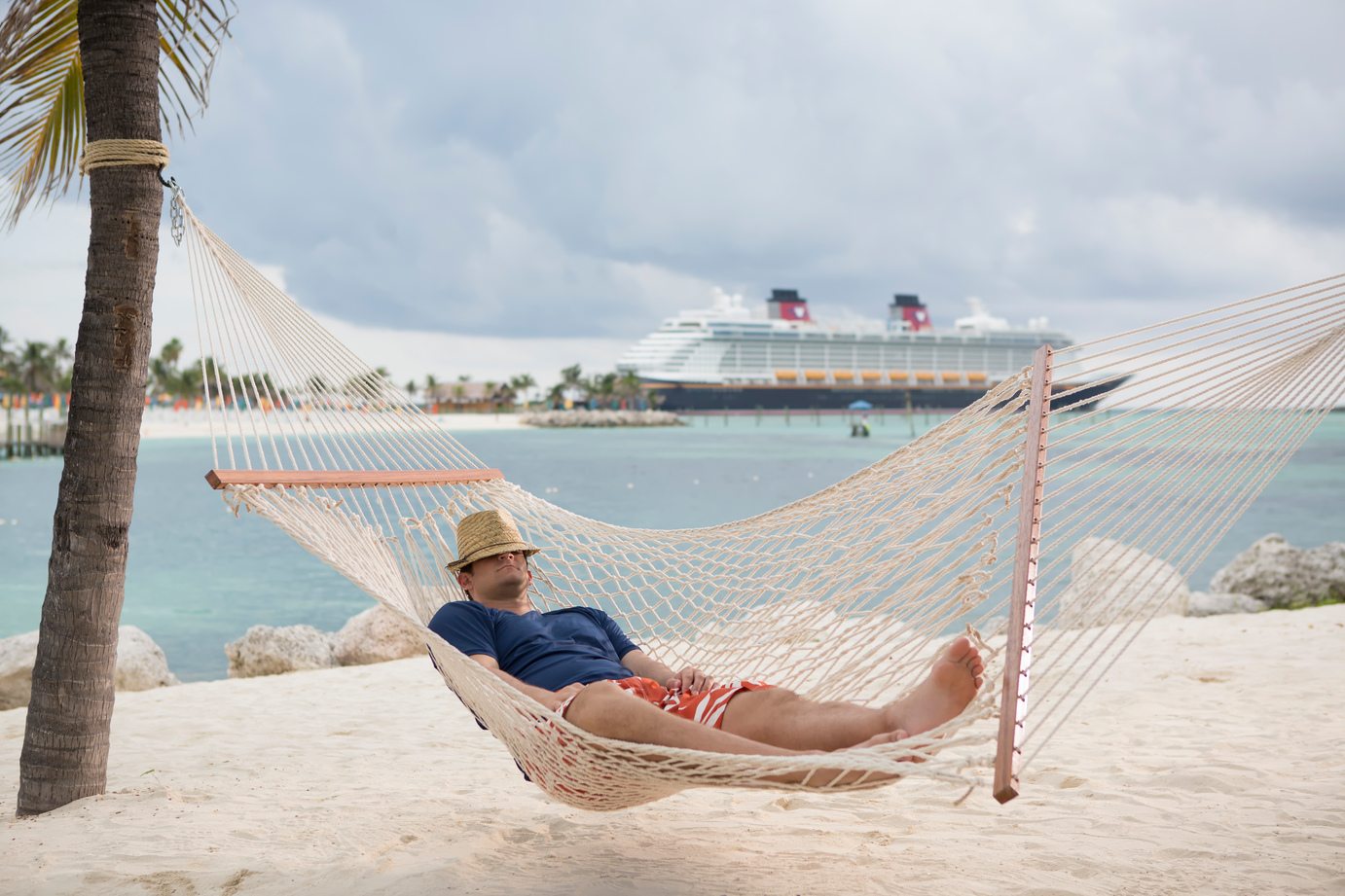 Dad in a hammock at Castaway Cay