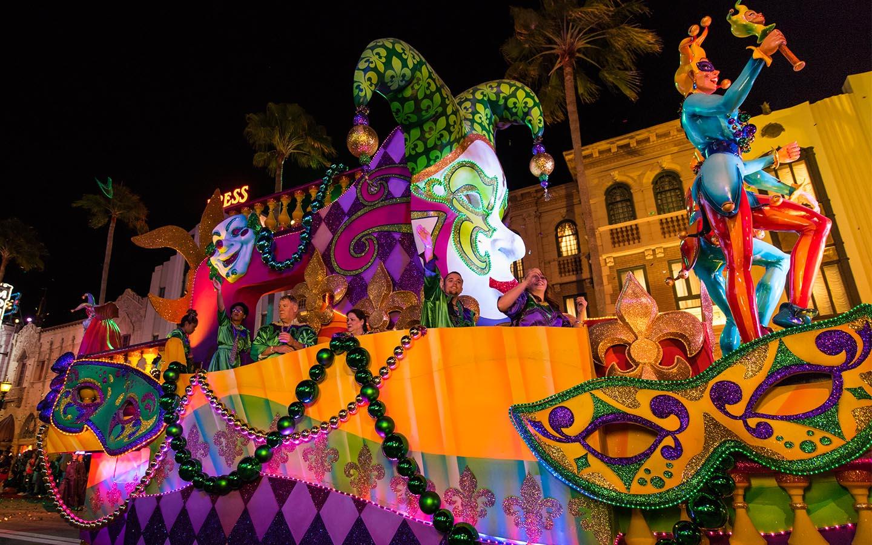 Mardi Gras floats at Universal Orlando