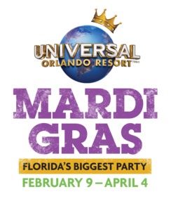 Universal Orlando Mardi Gras 2019 logo