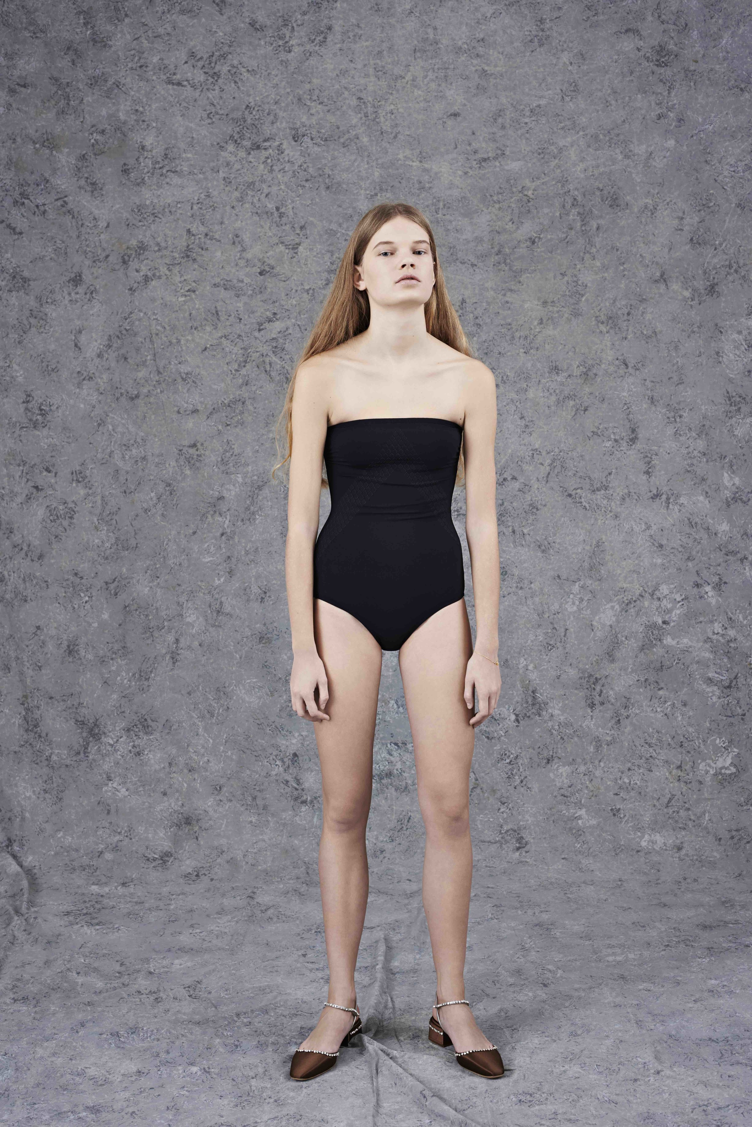 Peau Douce one piece swimsuit  ERES ,   satin slingback pumps with Swarovski crystals  PRADA.
