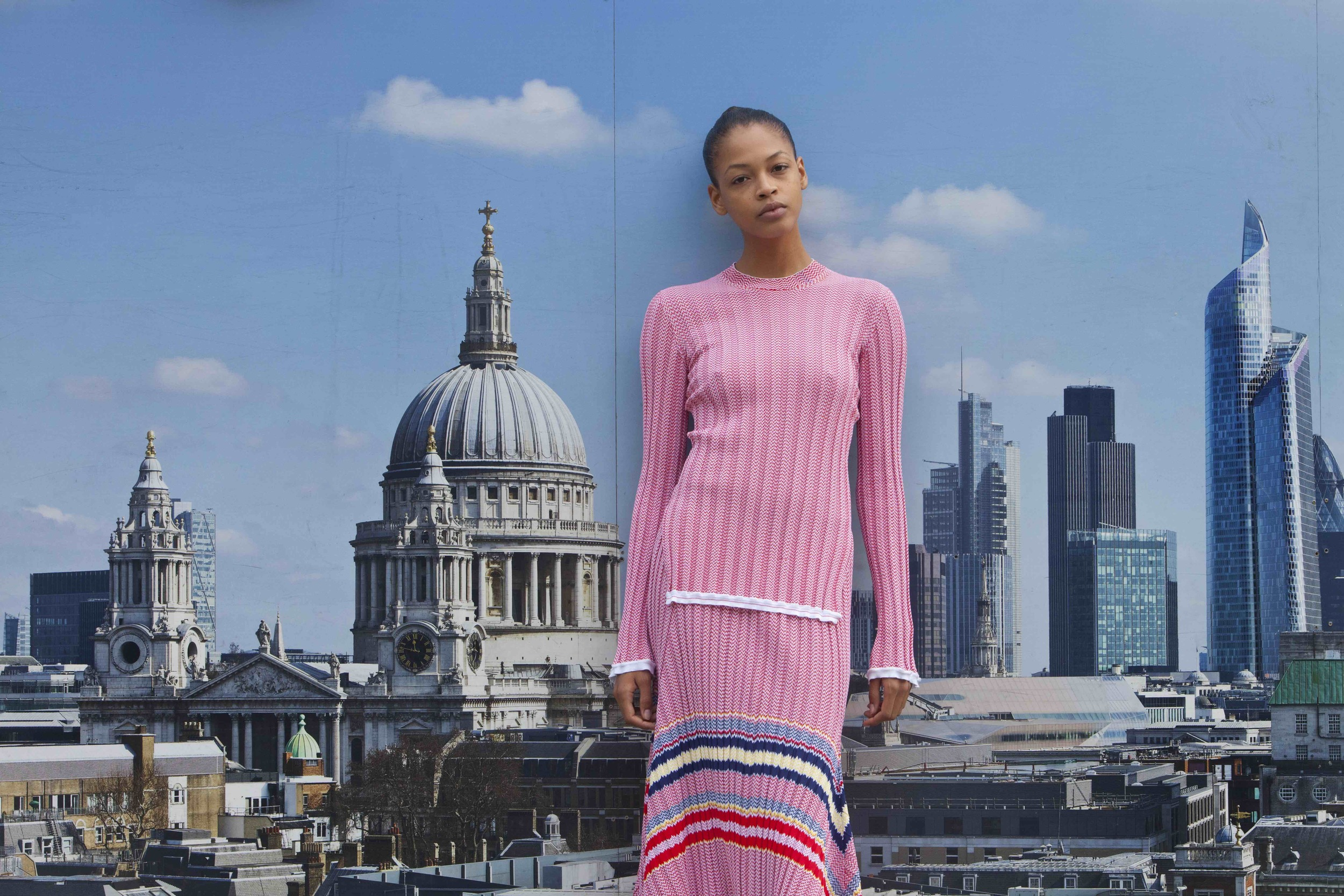 Knitted jacquard sweater and skirt  CÉLINE .