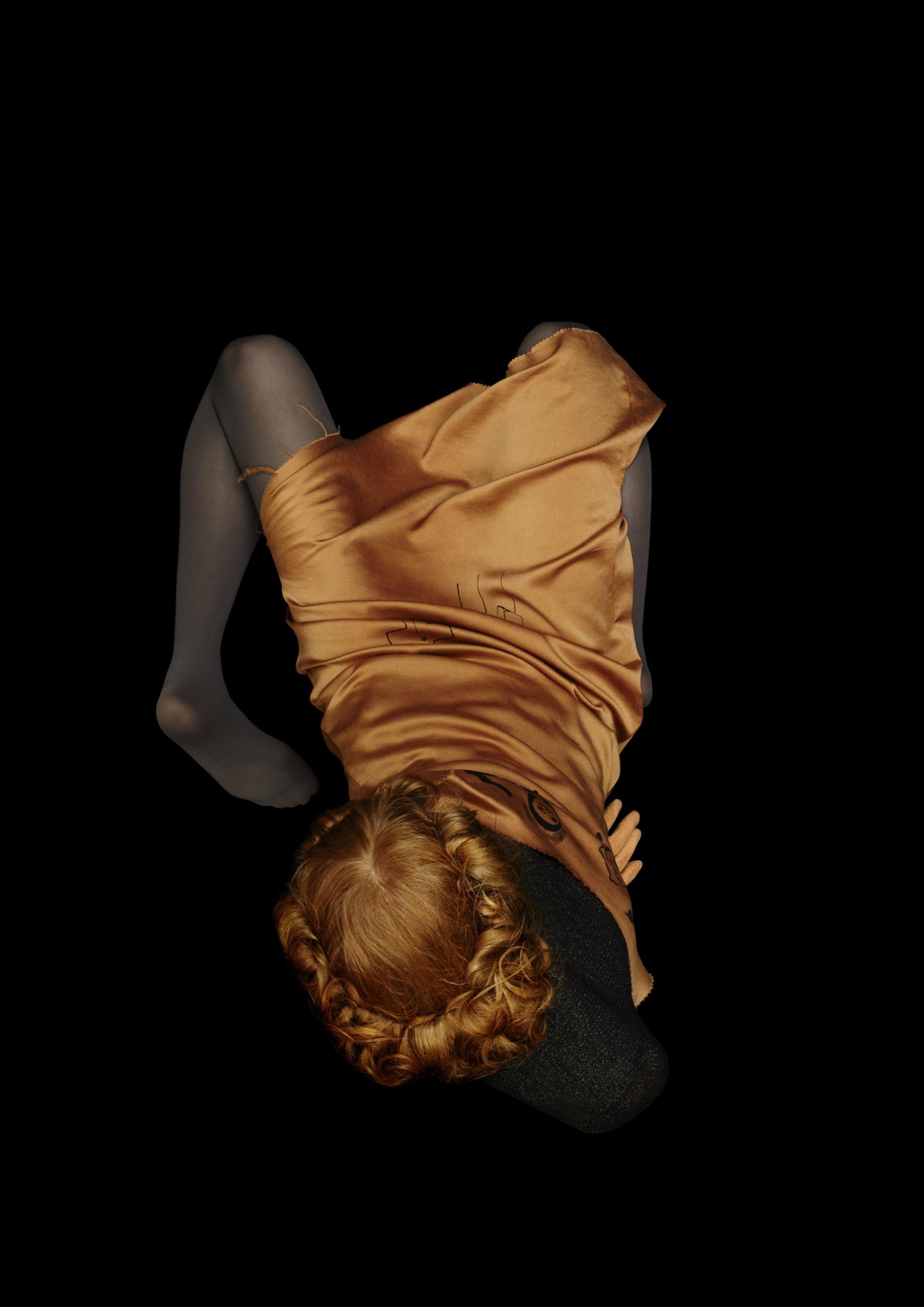 Terracotta silk slip dress  CLAIRE BARROW,  paper knit sweater  MINKI CHENG.