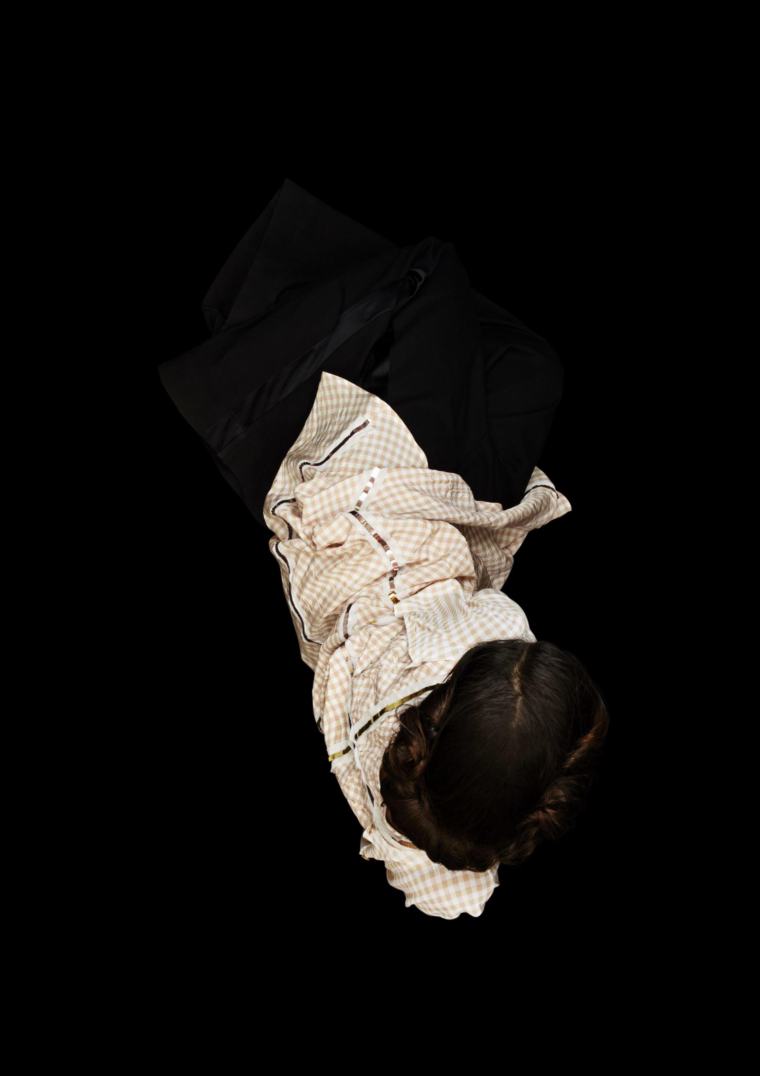Gingham check cardigan and matching dress  BOTTEGA VENETA,  black wool pants  MM6 MAISON MARTIN MARGIELA.