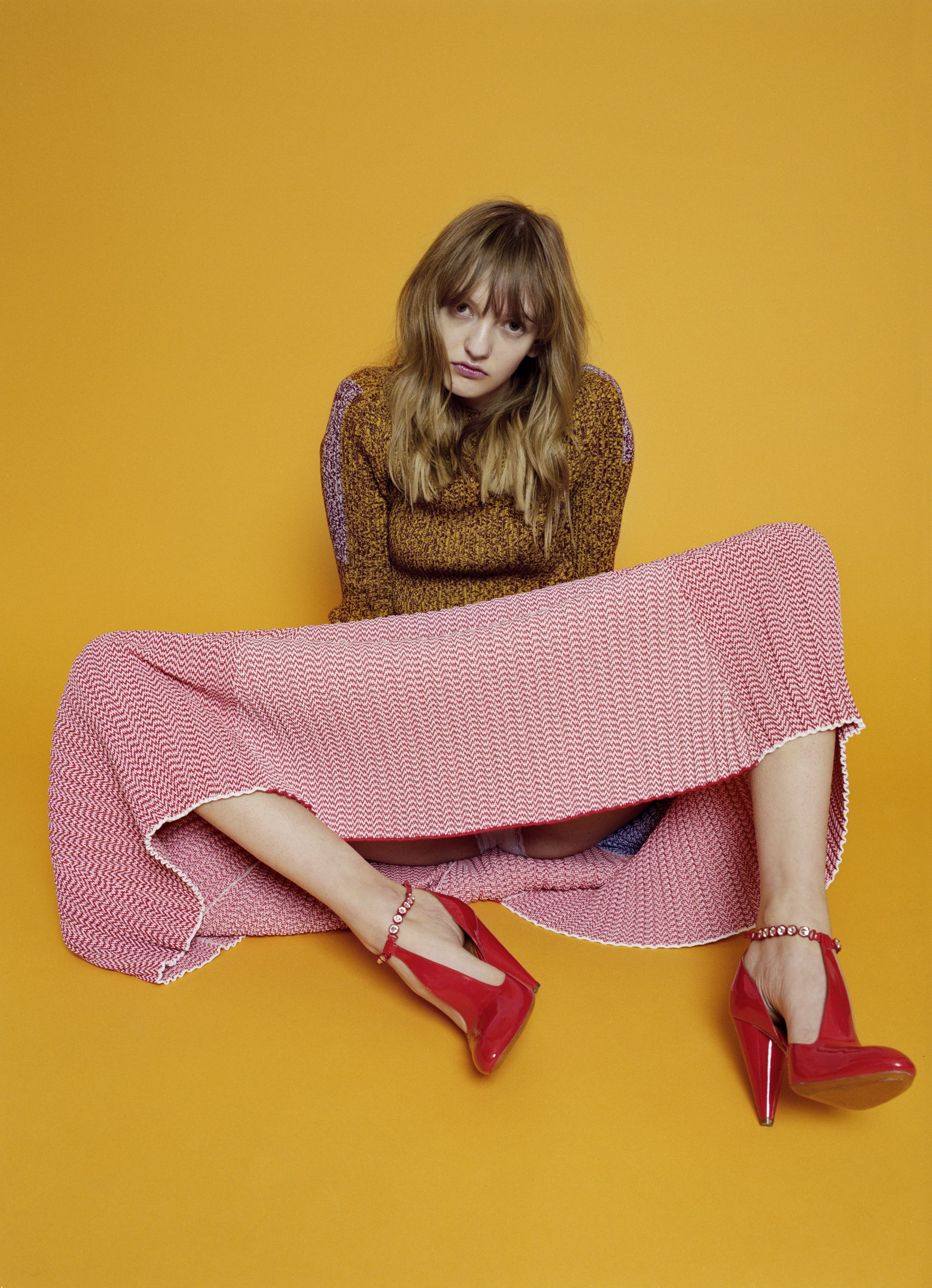 Knitted jacquard ensemble and red patent ankle strap pumps  CÉLINE.