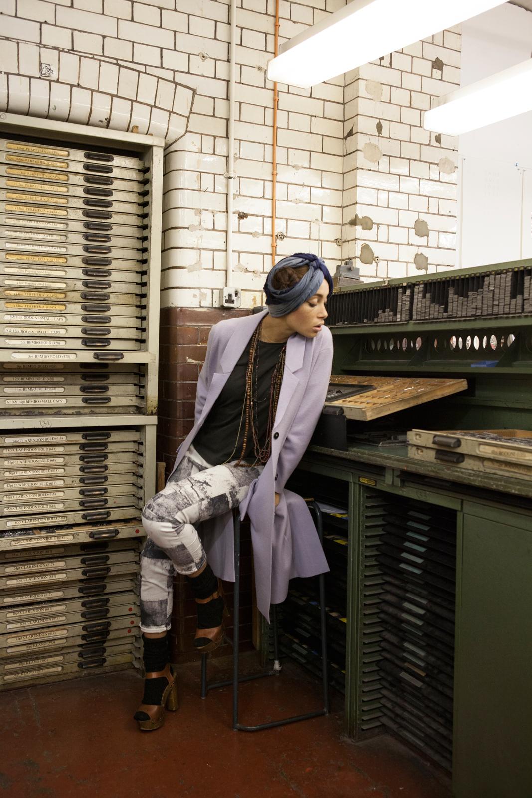 Plane lavander merino wool coat  BURBERRY PRORSUM , marble effect denim trousers  SUPERFINE ,grey cotton t-shirt  TOPSHOP , wooden platform sandals  CHLOÉ Vintage.