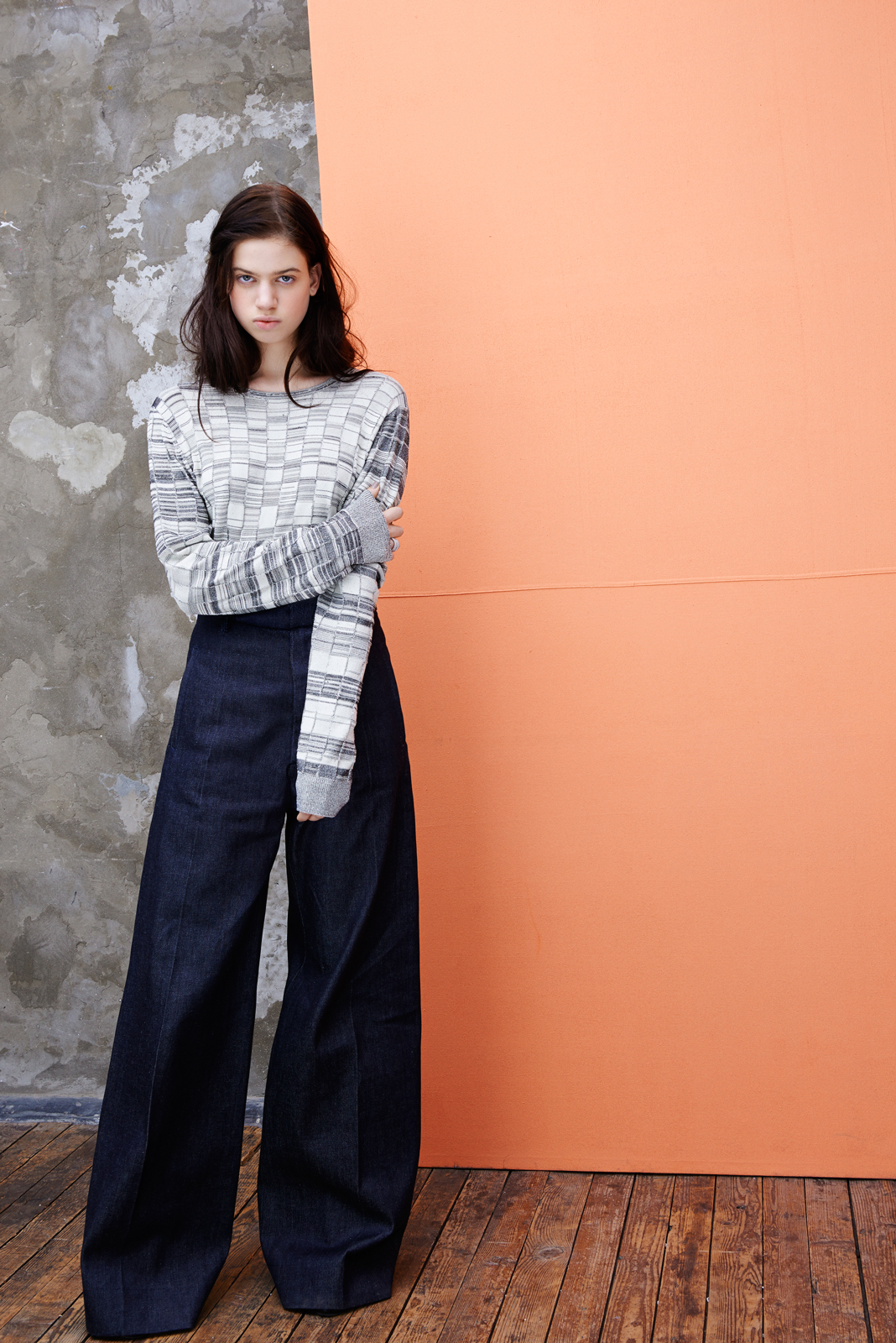 Patchwork knitted sweater and wide-legged trousers  ACNE .