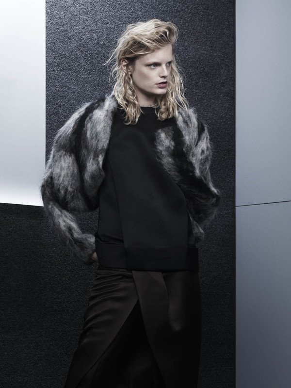 Mohair and wool fur spine hooded shrug, draped back muscle tee and front tucked skirt pants  ALEXANDER WANG .