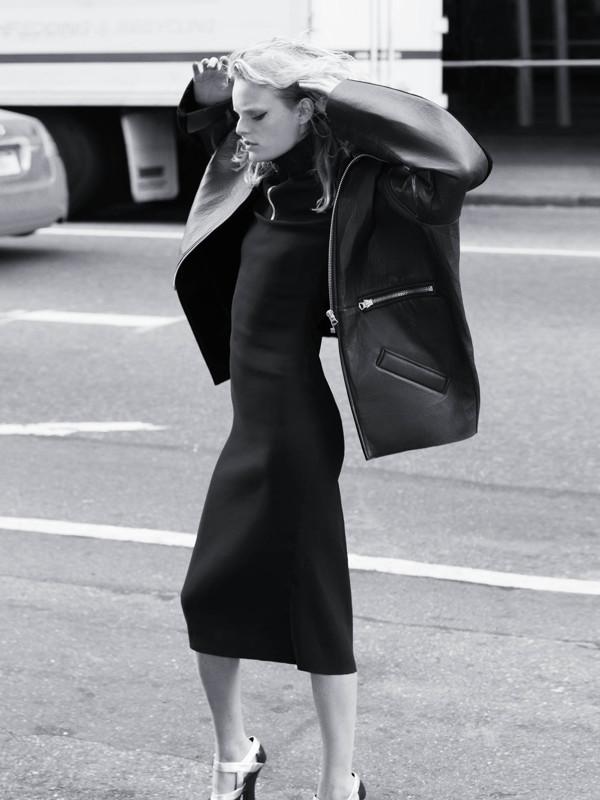 Major oversized leather jacket  ACNE , stretch wool-blend sheath dress & platform pumps  MIU MIU .