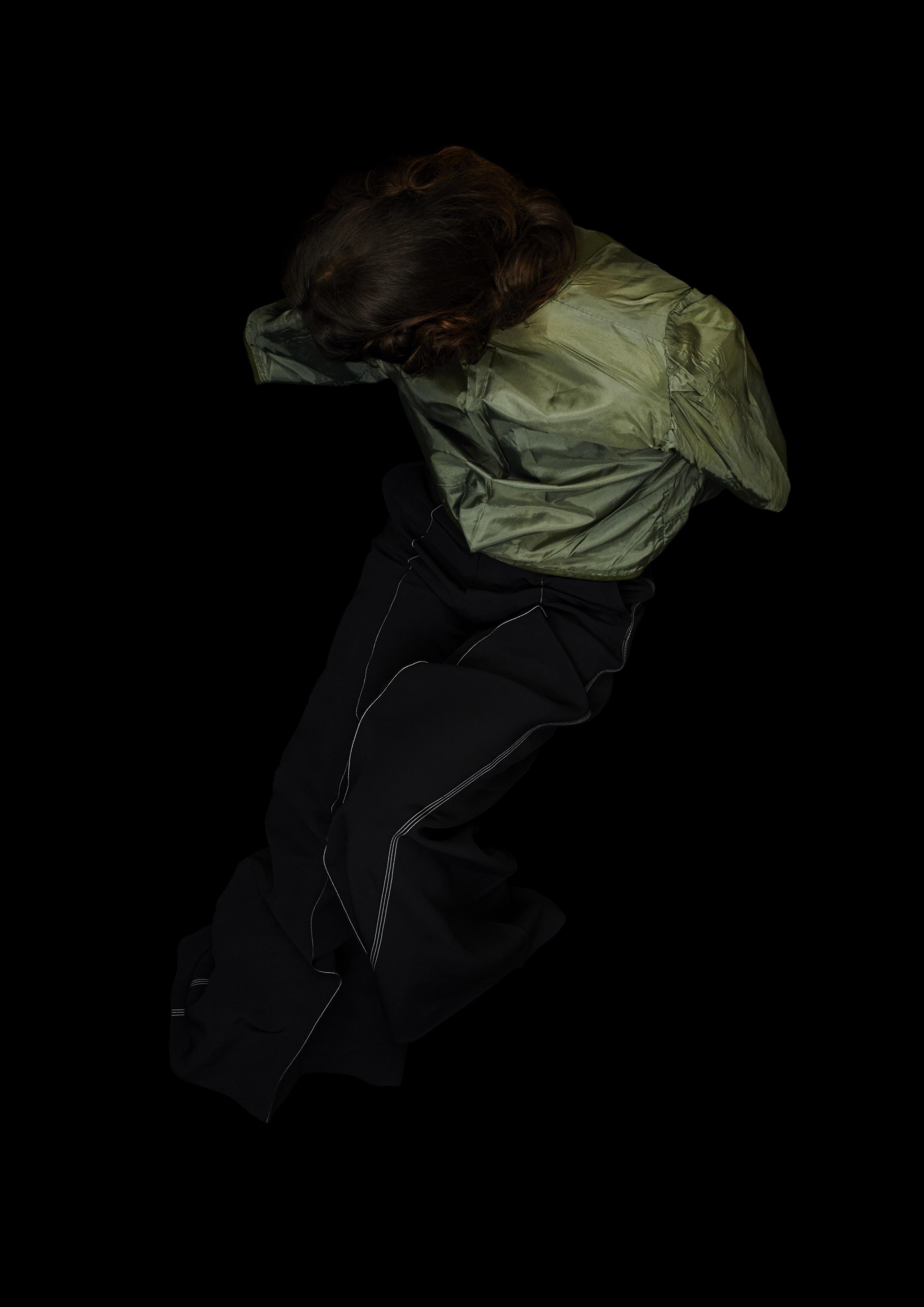 Black silk flare trousers  CÉLINE,  skirt worn backwards  FRANCO JACASSI VINTAGE DELIRIUM.