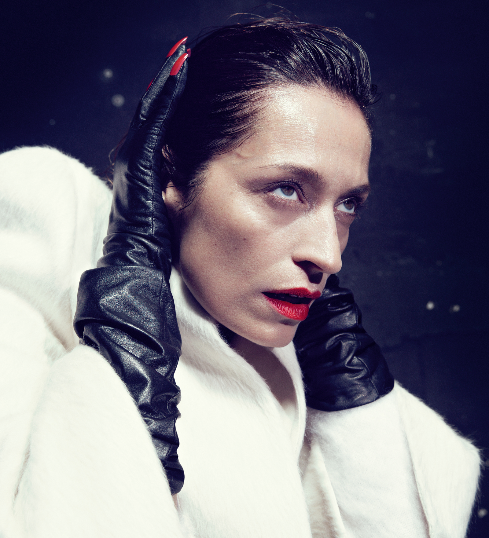 Cream silk and wool cape-style boxy jacket  VALENTINO , red-nail leather gloves  YOHJI YAMAMOTO .