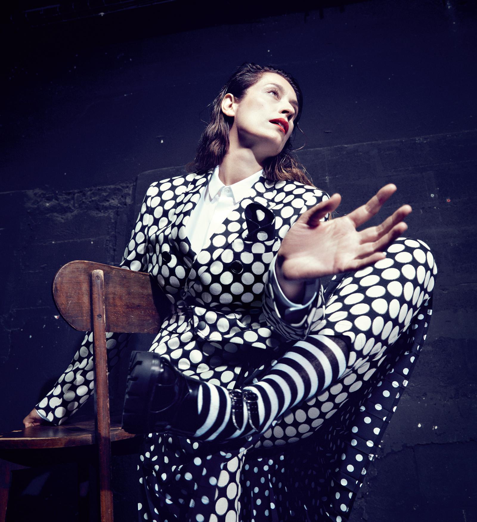 Polka dot wool-blend man suit and white poplin shirt  KRIS VAN ASSCHE ,dot print silk skirt  COMME DES GARÇONS stylist's own.