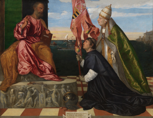 Titian, Jacopo Pesaro Being Presented by Pope Alexander VI to Saint Peter, 1508–11.   Oil on canvas. 147.8 x 188.7 cm. Koninklijk Museum voor Schone Kunsten, Antwerp Photo © Royal Museum for Fine Arts Antwerp /   www.lukasweb.be   - Art in Flanders vzw. Photography: Hugo Maertens.