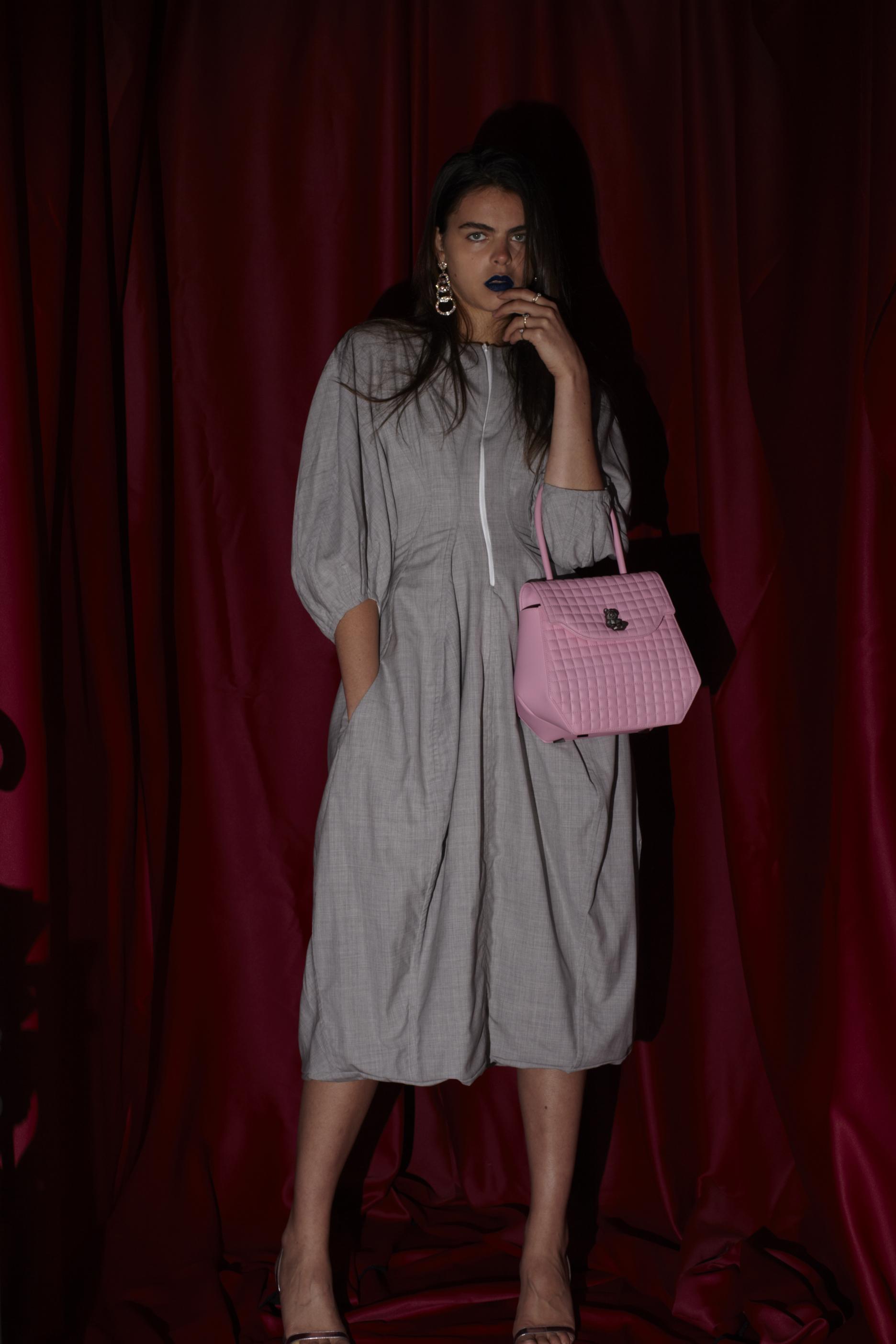 Bag PRAMMA Nr.1b, cotton dress Céline, sandals Saint Laurent, earrings stylist own.