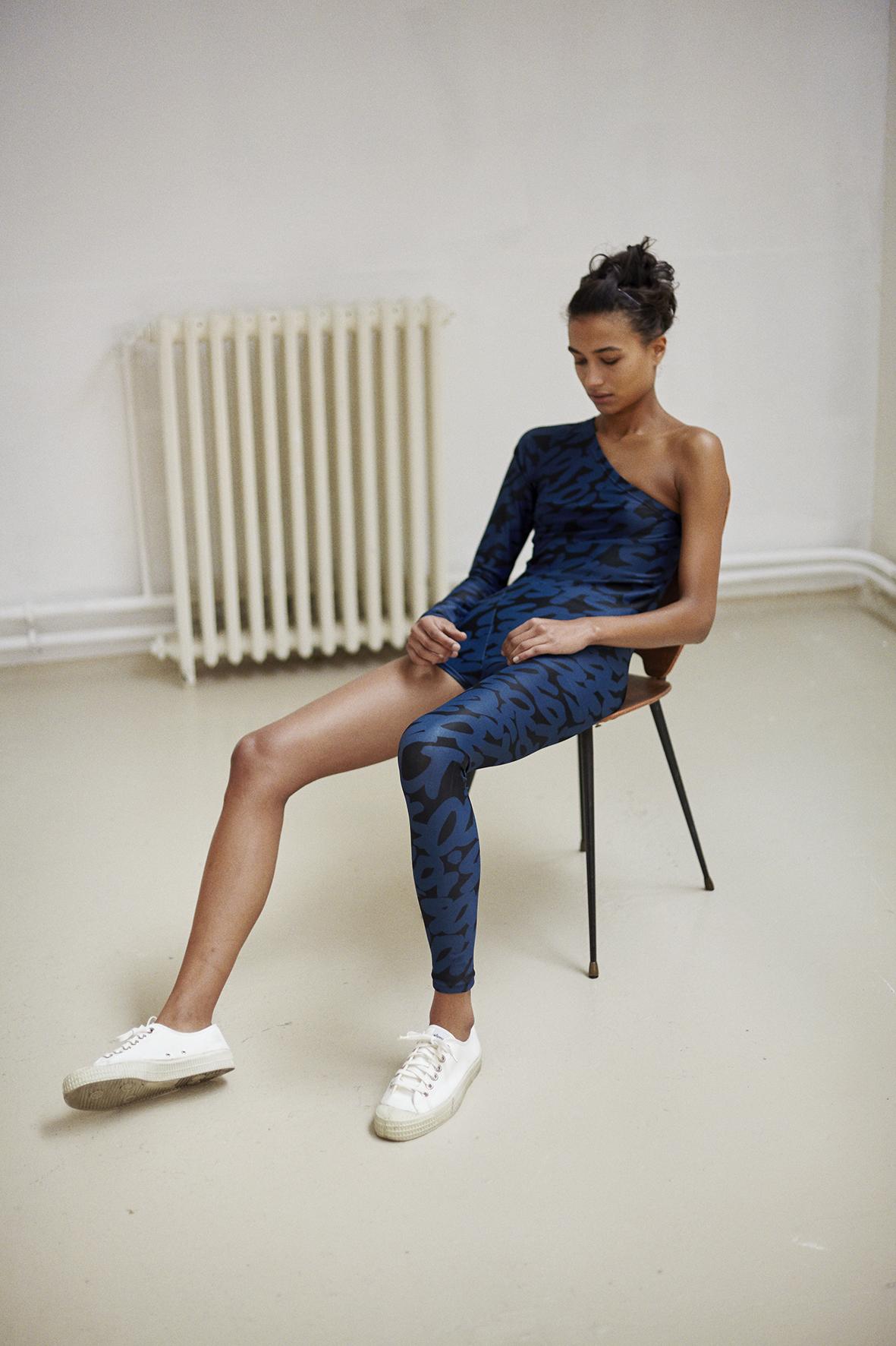 Asymmetric printed bodysuit
