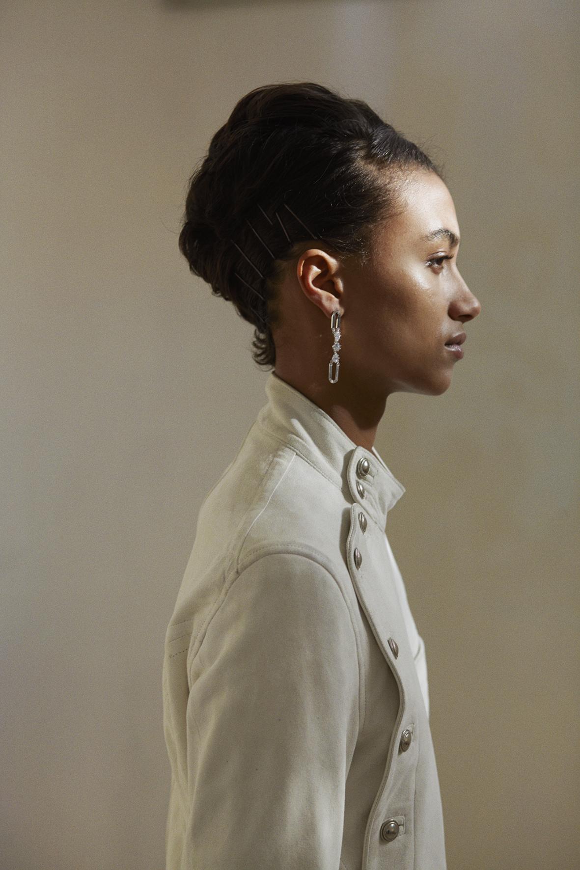 Fencing leather jacket. Hand-cut crystals silver earrings EDDIE BORGO