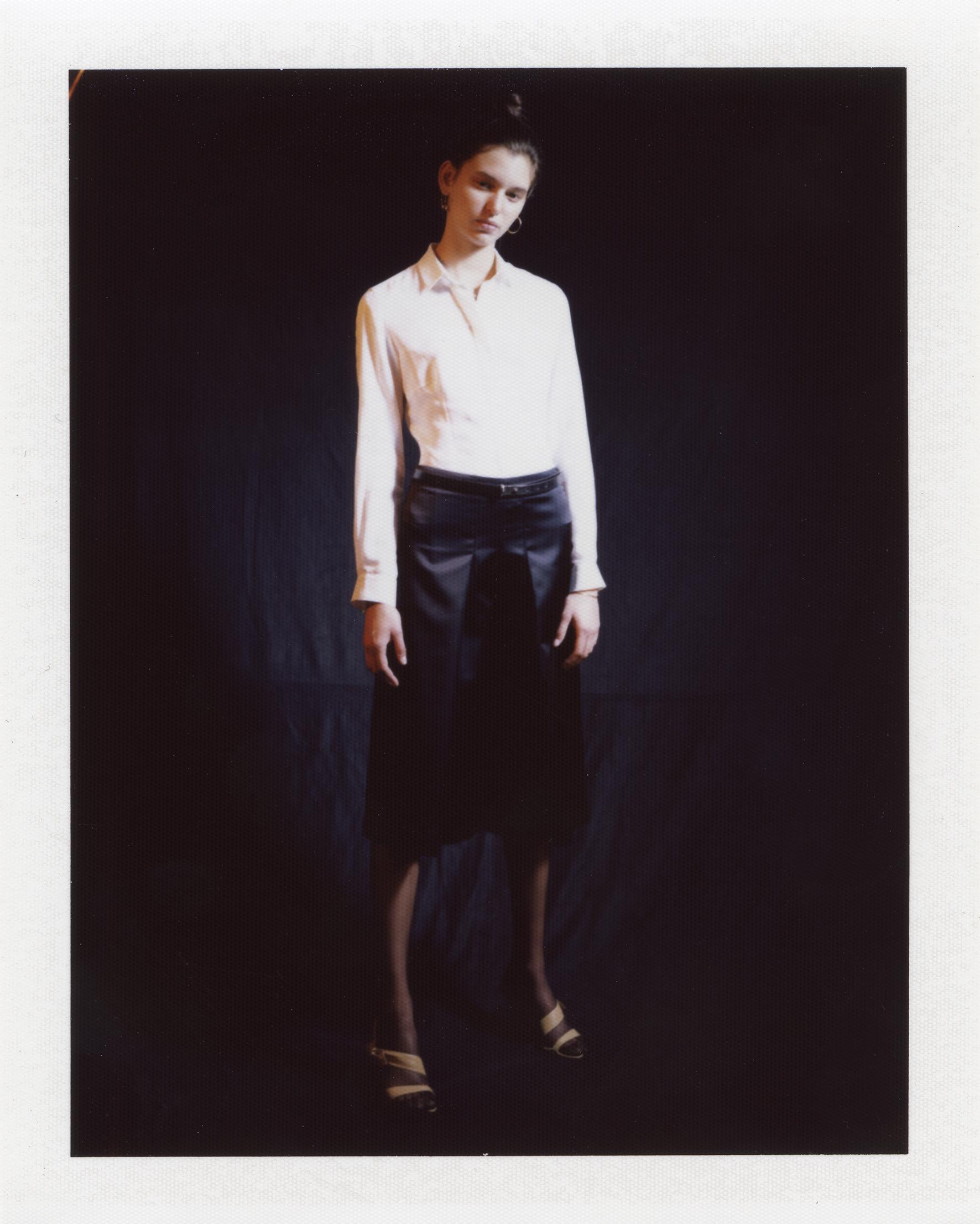 White shirt, black satin skirt. 18ct golden hoop and square earrings ATELIER VM,sandals MIU MIU at MADAME PAULINE VINTAGE, leather belt MAISON MARGIELA
