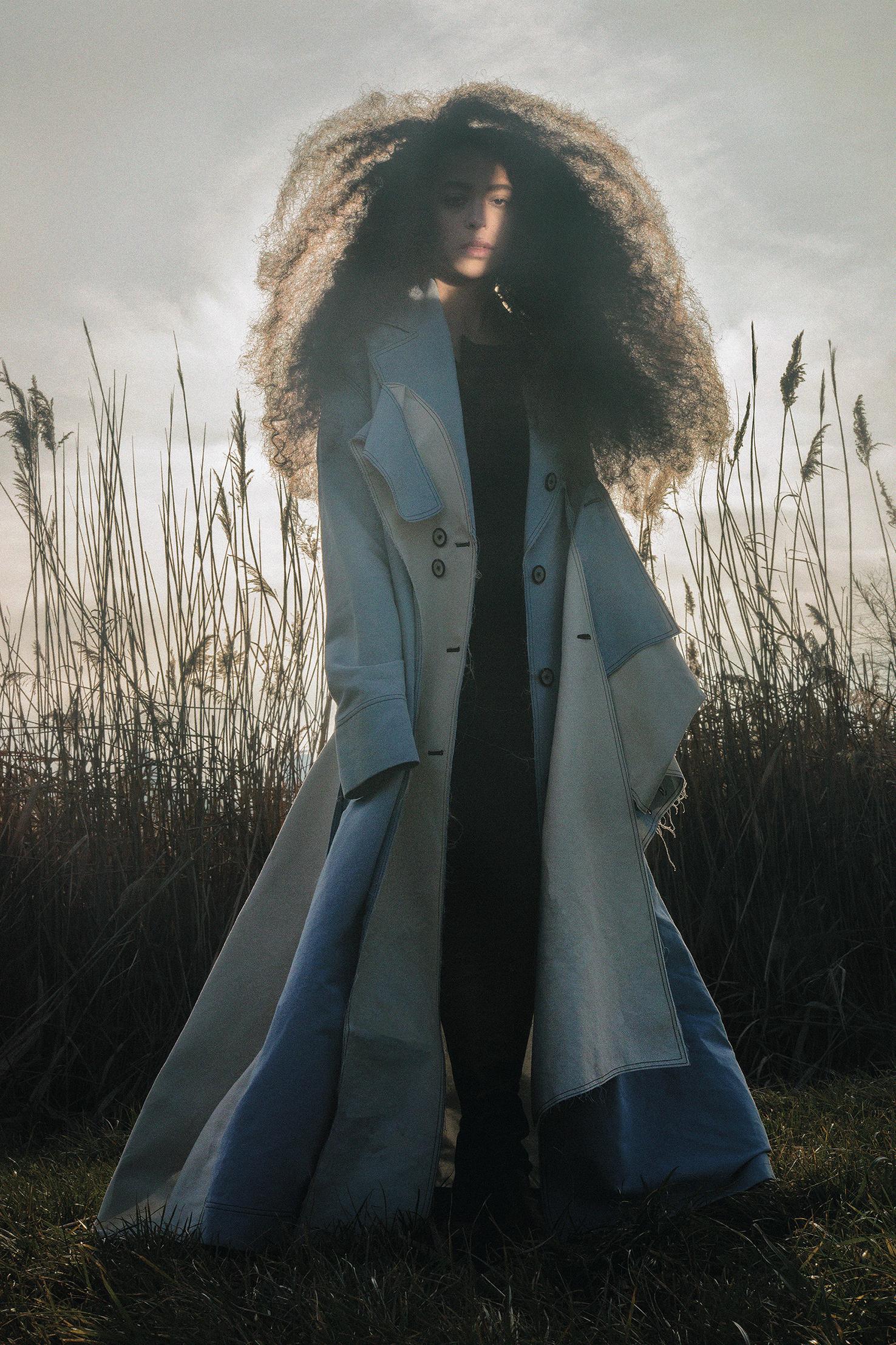 canvas sky blue and beige coat CLAUDIA LI,vintage pleated black dress COMME DES GARÇONS from A.J.H ARCHIVES,leather black country boots CÉLINE.