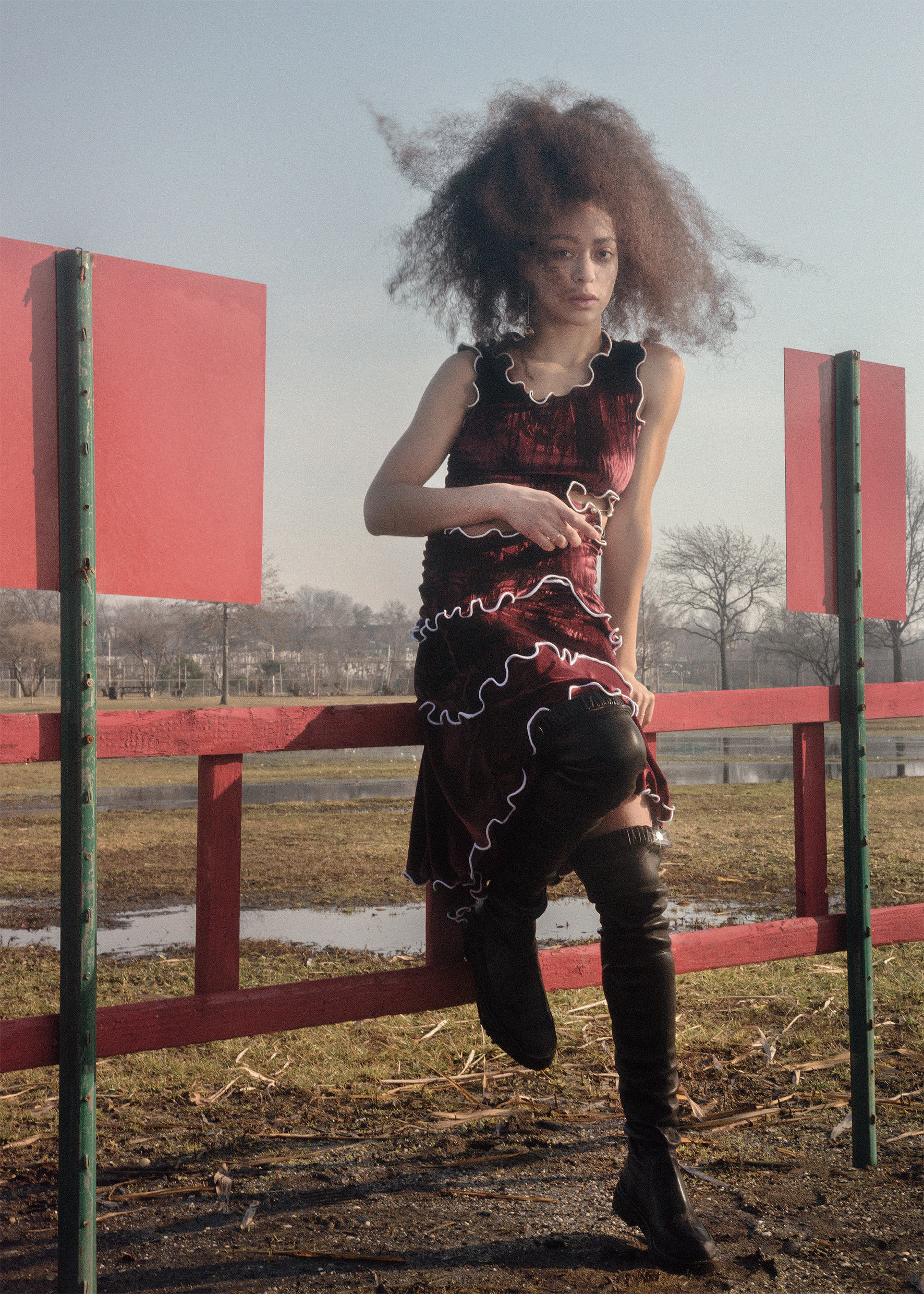Hepworth drop earring LEIGH MILLER,crunched velvet burgundy top and skirt PEET DULLAERT,leather black country boots CÉLINE.