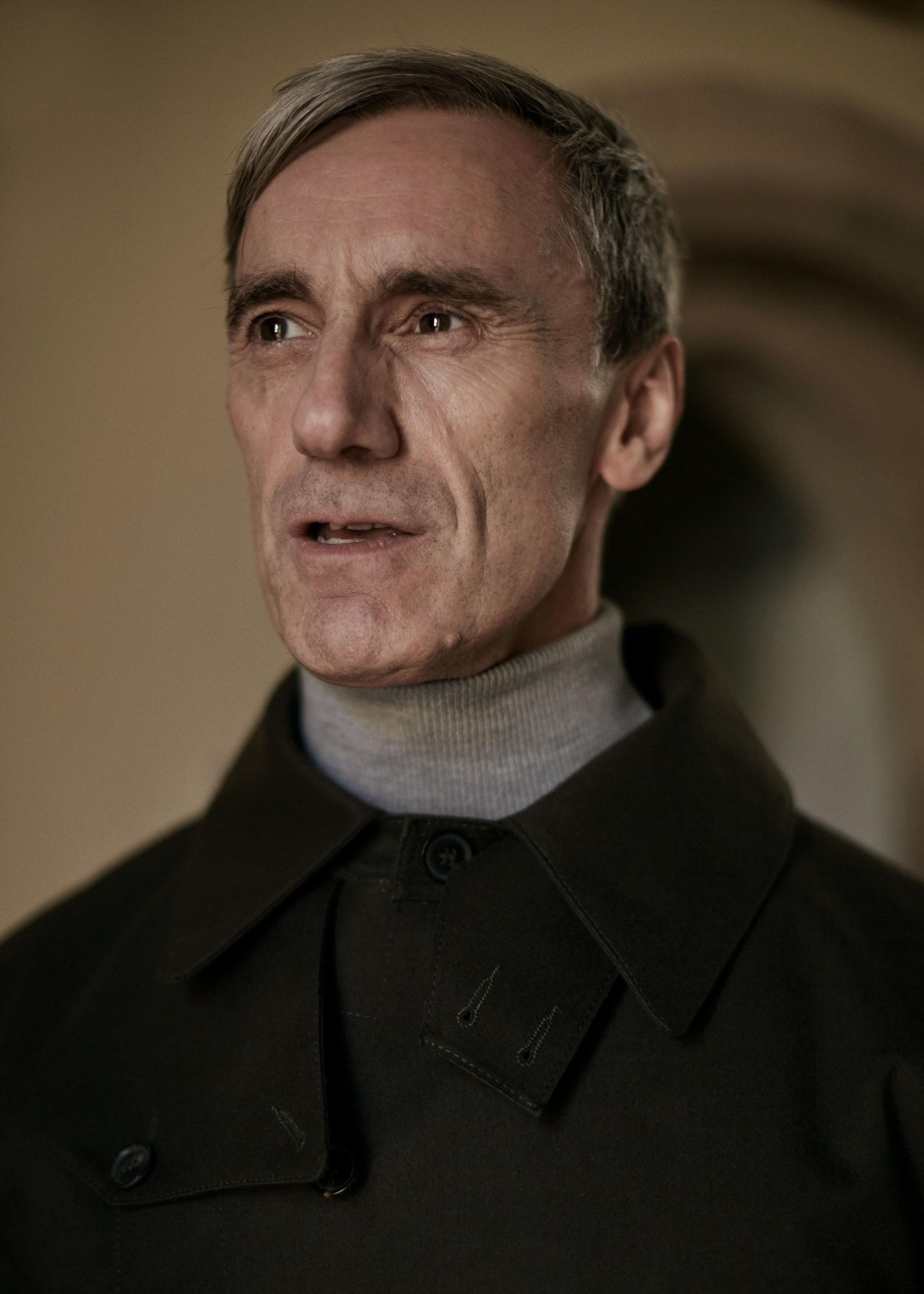 Bonded-cotton belted coat MACKINTOSH,grey wool turtleneck sweater ZARA.