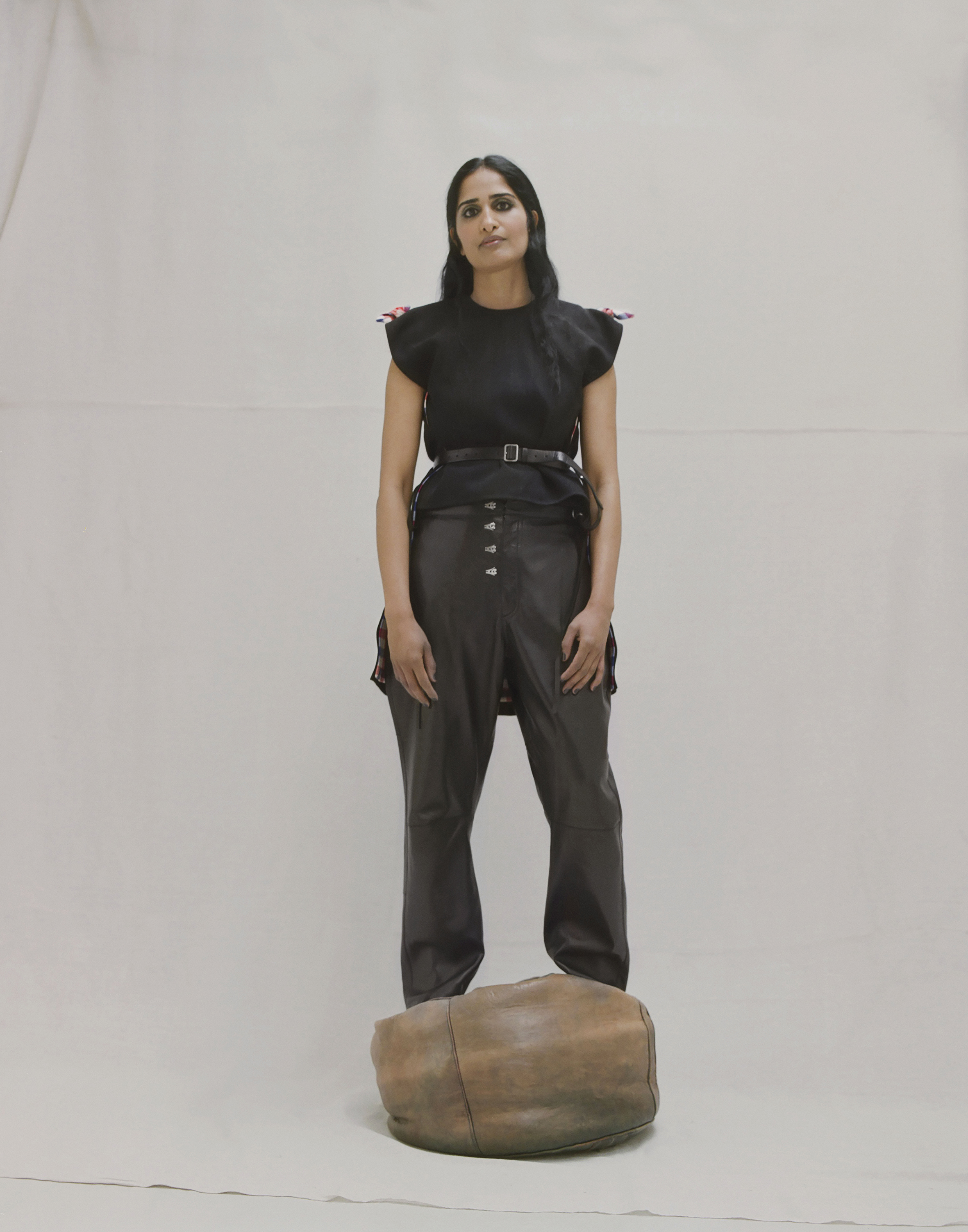 Textured viscose top and glove lambskin harness trousers CÉLINE.