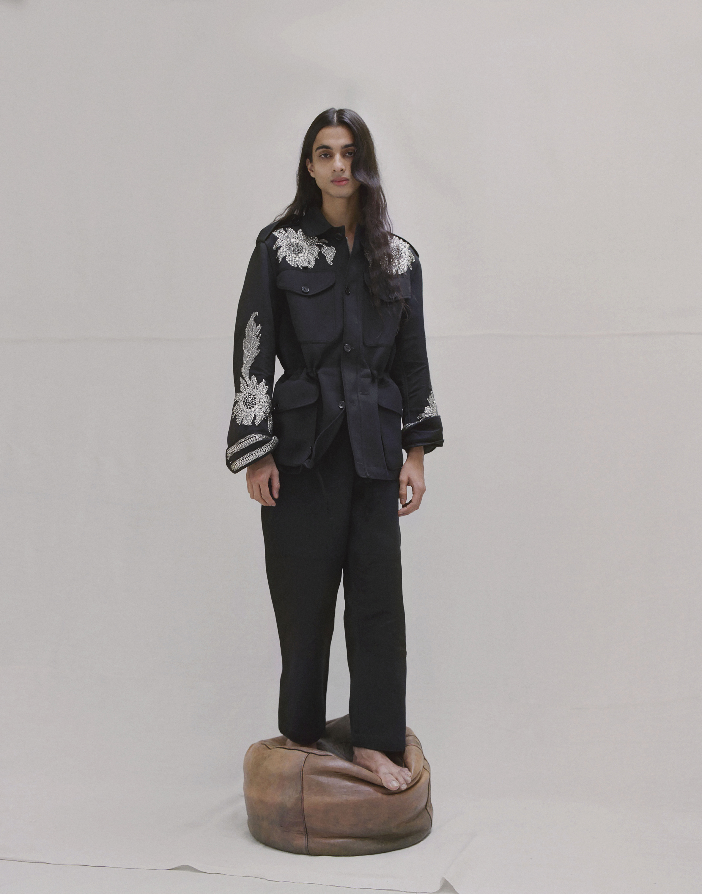 Sequin embroidered military jacket and trousers ALEXANDER MCQUEEN.