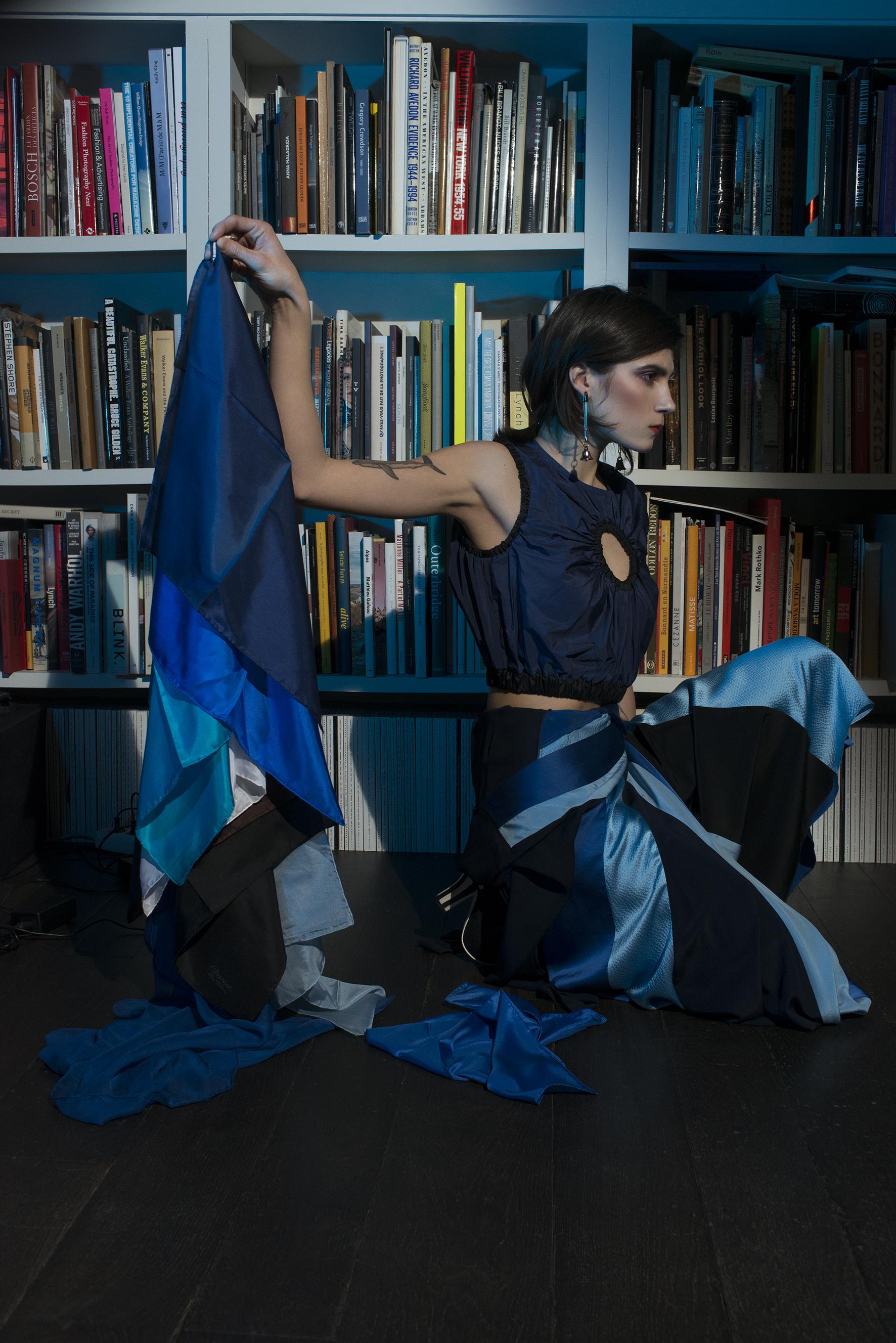 Striped silk wrap dress DIANE VON FURSTENBERG,porthole taffeta cropped tank top SPORTMAX,blue silk handkerchiefs CHARVET, black and white knitted sandals FENDI.